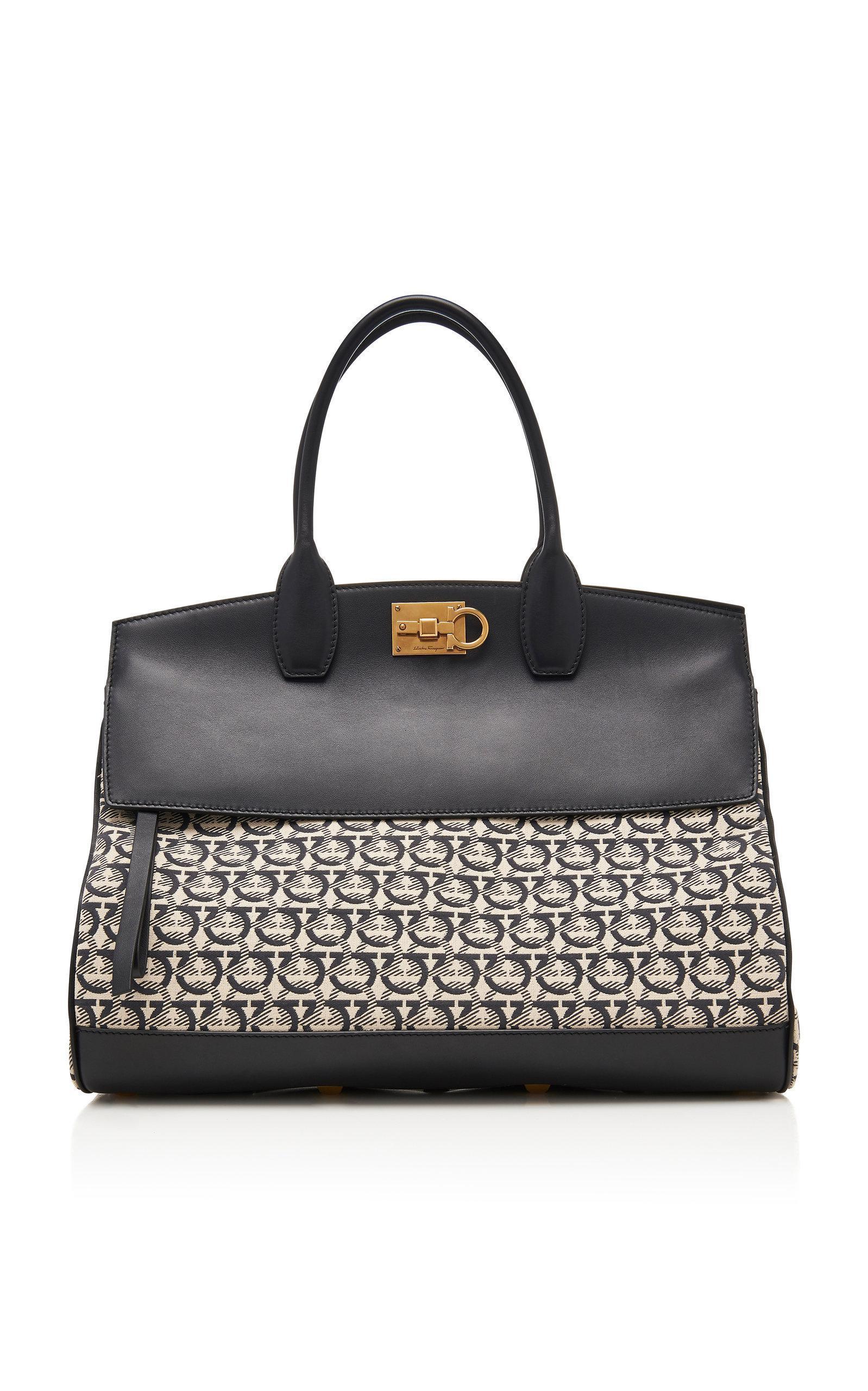 1f693b9a15eb Lyst - Ferragamo Studio Medium Leather Bag in Black