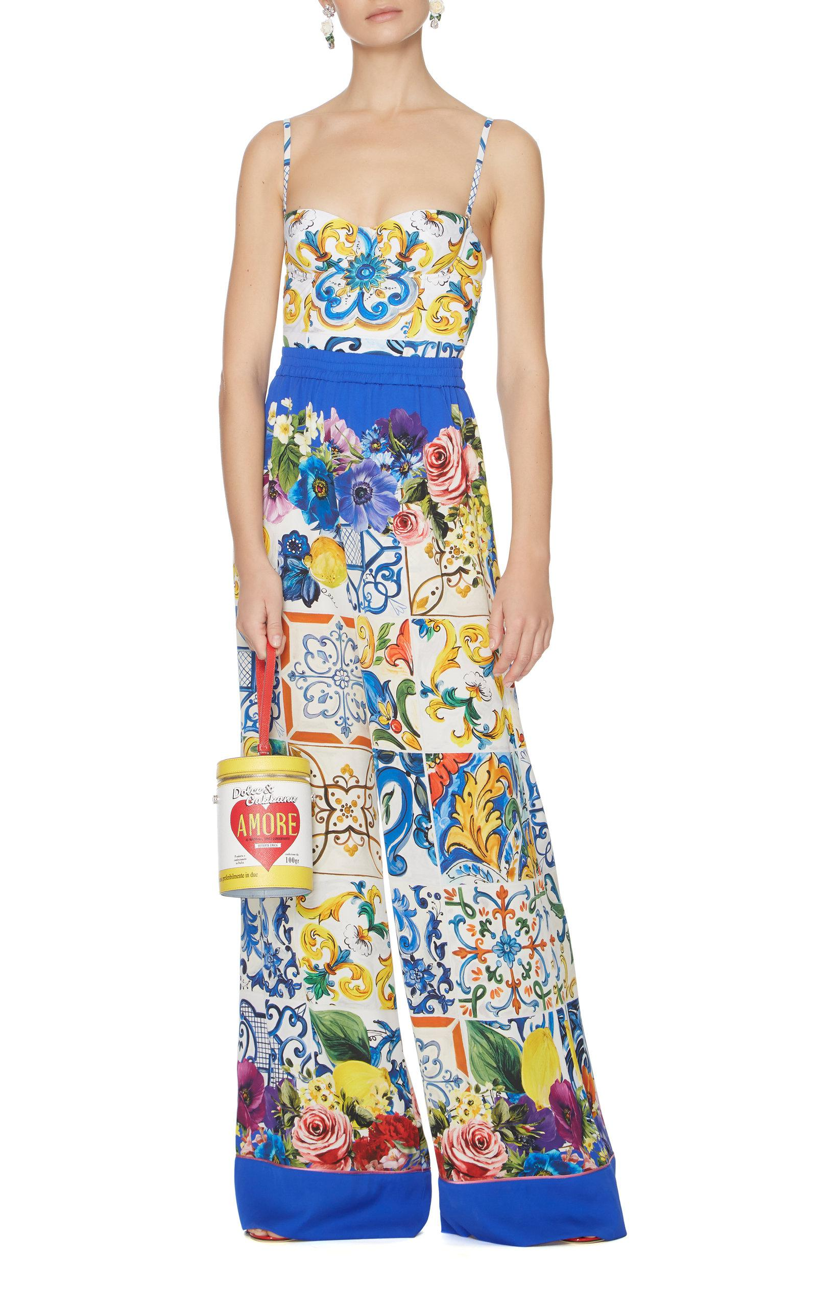 f375afdba8 Dolce   Gabbana Printed Leather Wristlet Bag in Yellow - Lyst