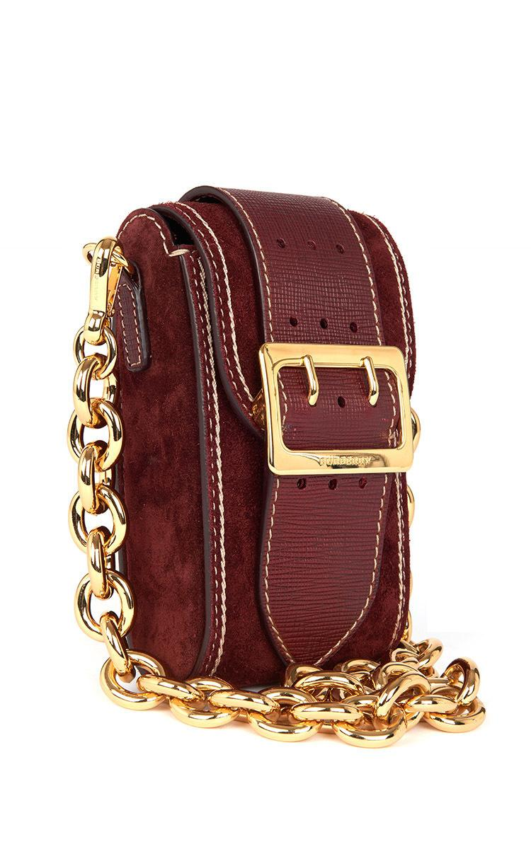 Burberry Oblong Buckle Suede Shoulder Bag In Red Lyst