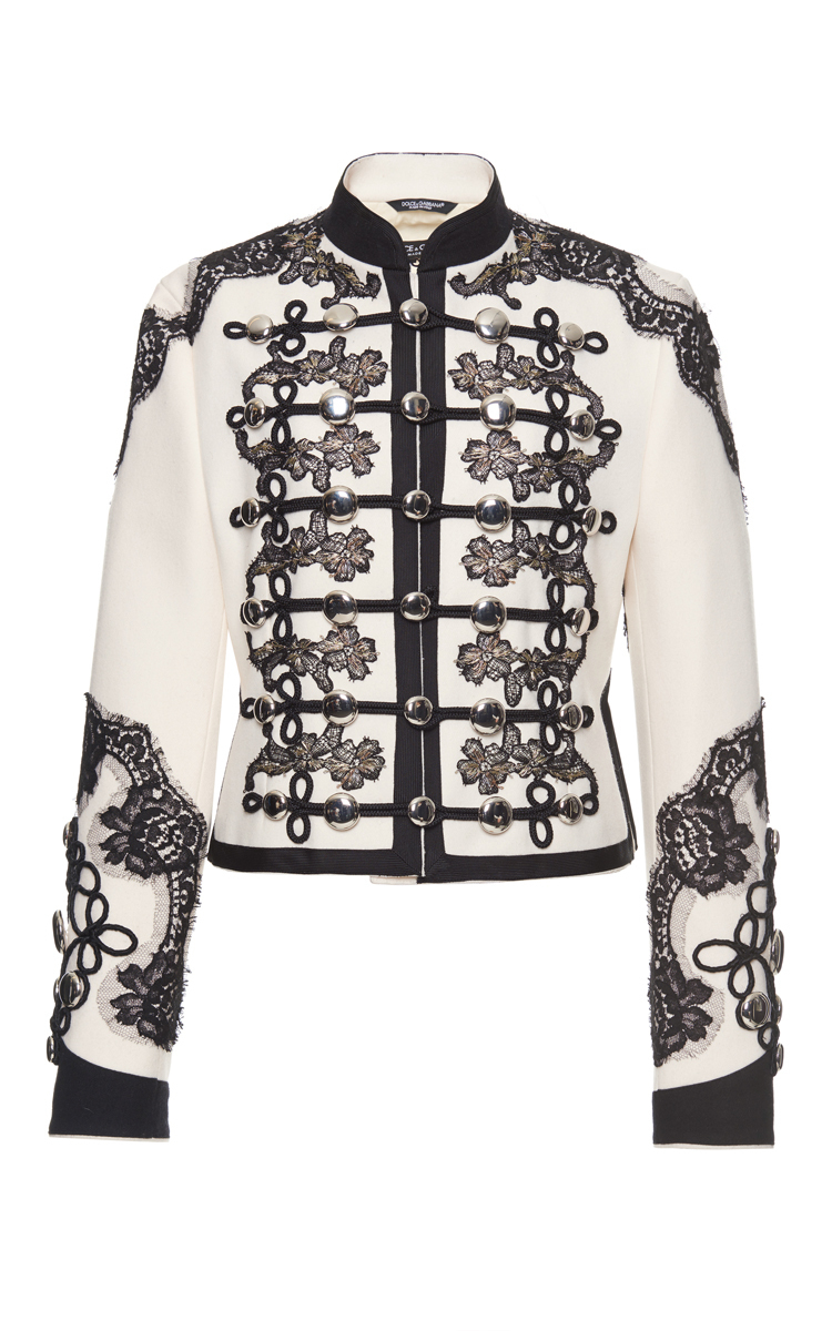 Dolce Amp Gabbana Lace Embellished Military Jacket In