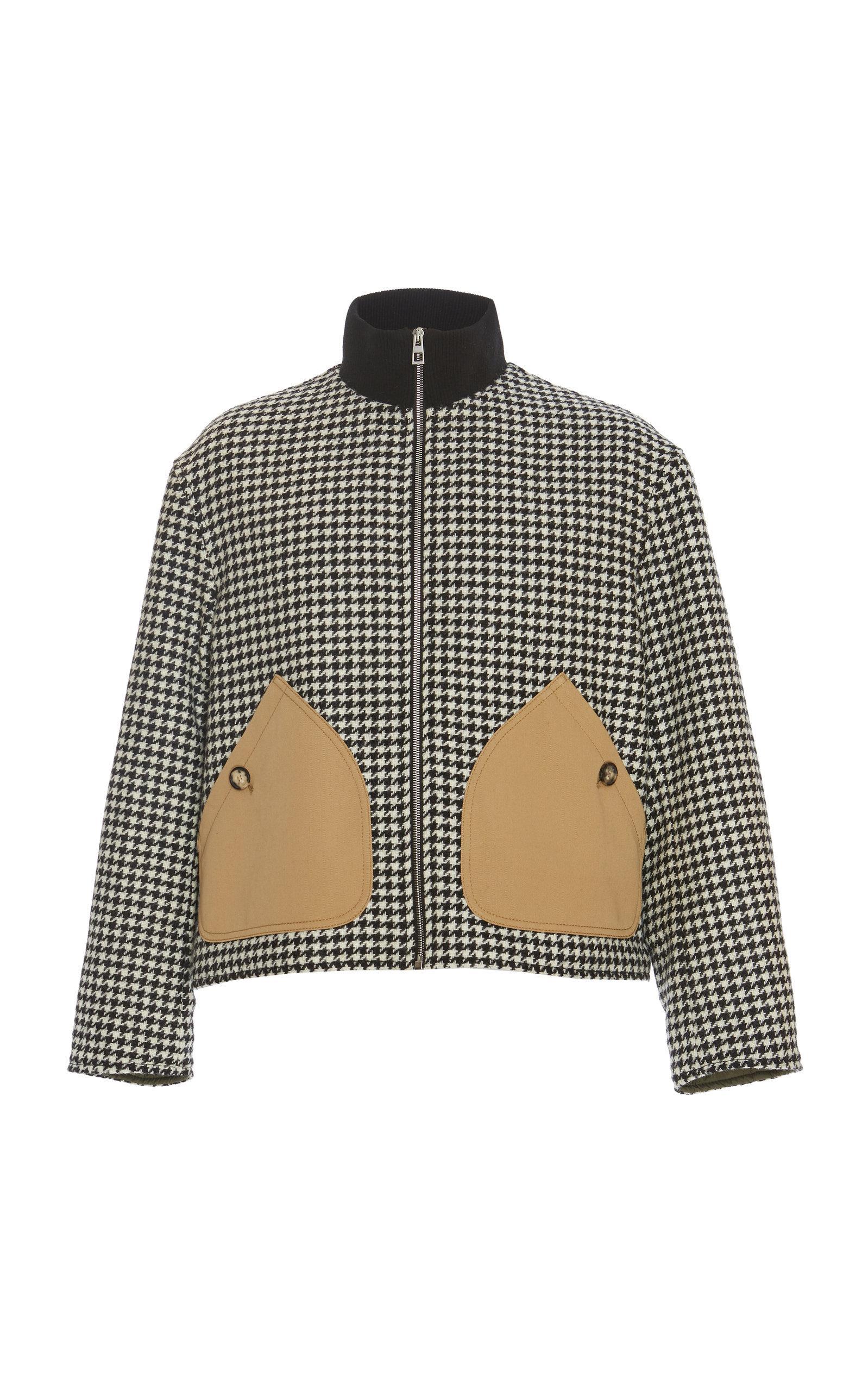 Loewe Houndstooth Zip Jacket Patch Pockets in Black for Men