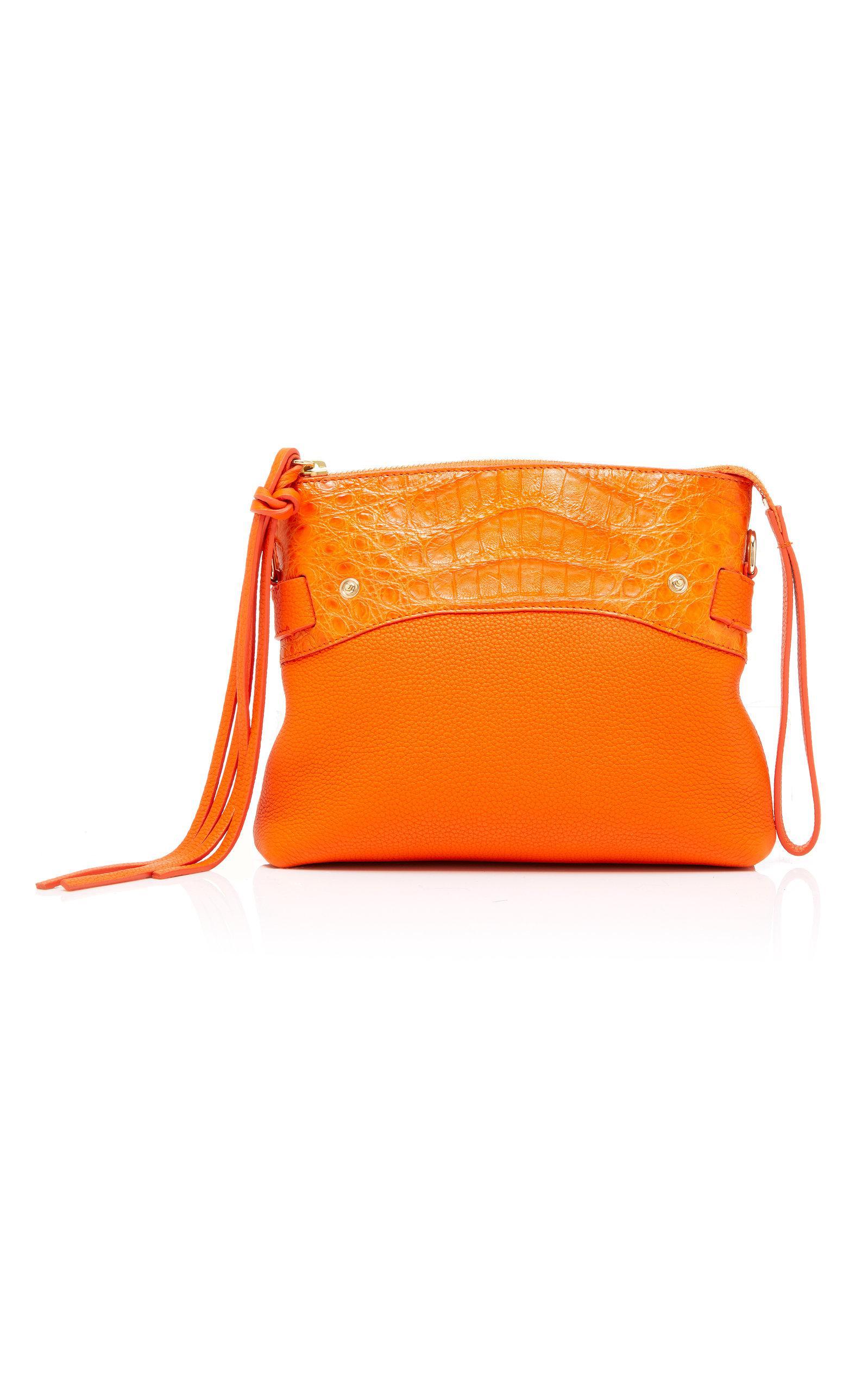 Nancy Gonzalez Leather Mini Cristie Tote With Pouchette in Orange