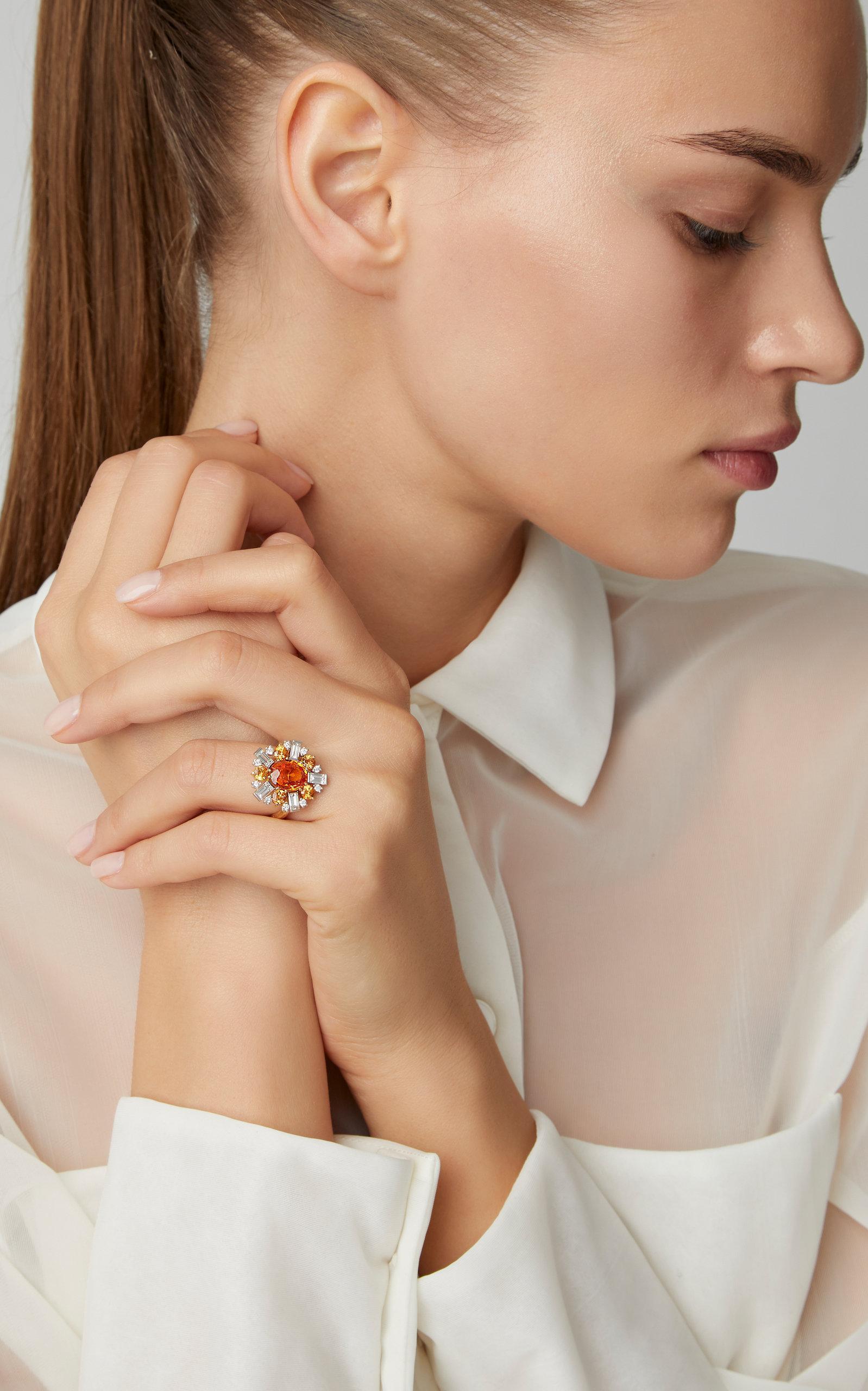 Mimi So 18k Gold Sapphire Garnet And Diamond Ring In Orange Lyst