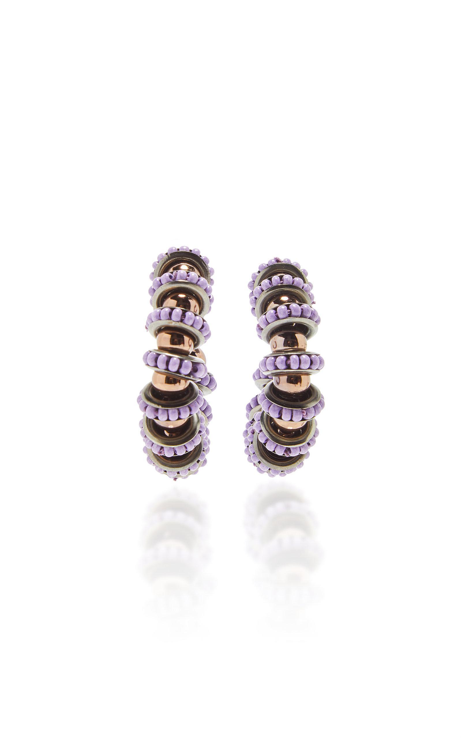 Carolina Herrera Beaded Ring Earring in Purple