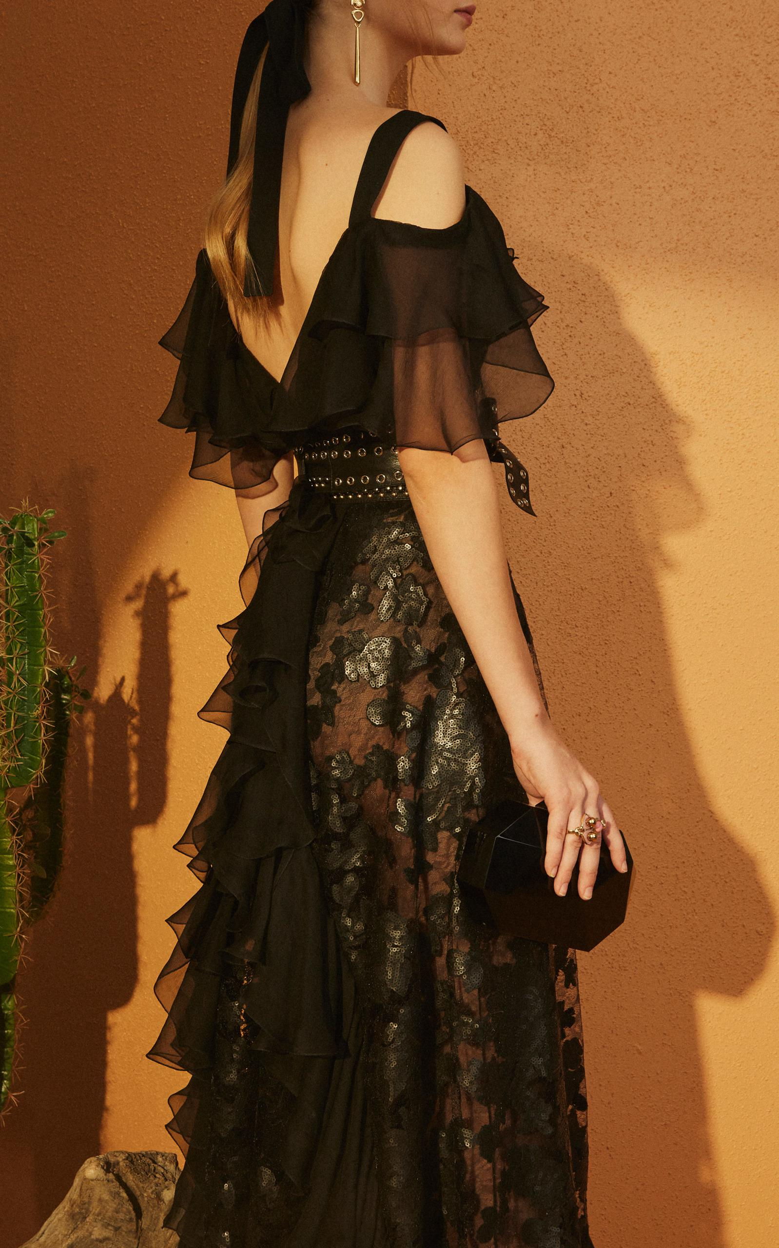 a64e624154 Lyst - Elie Saab Off The Shoulder Ruffle Gown in Black