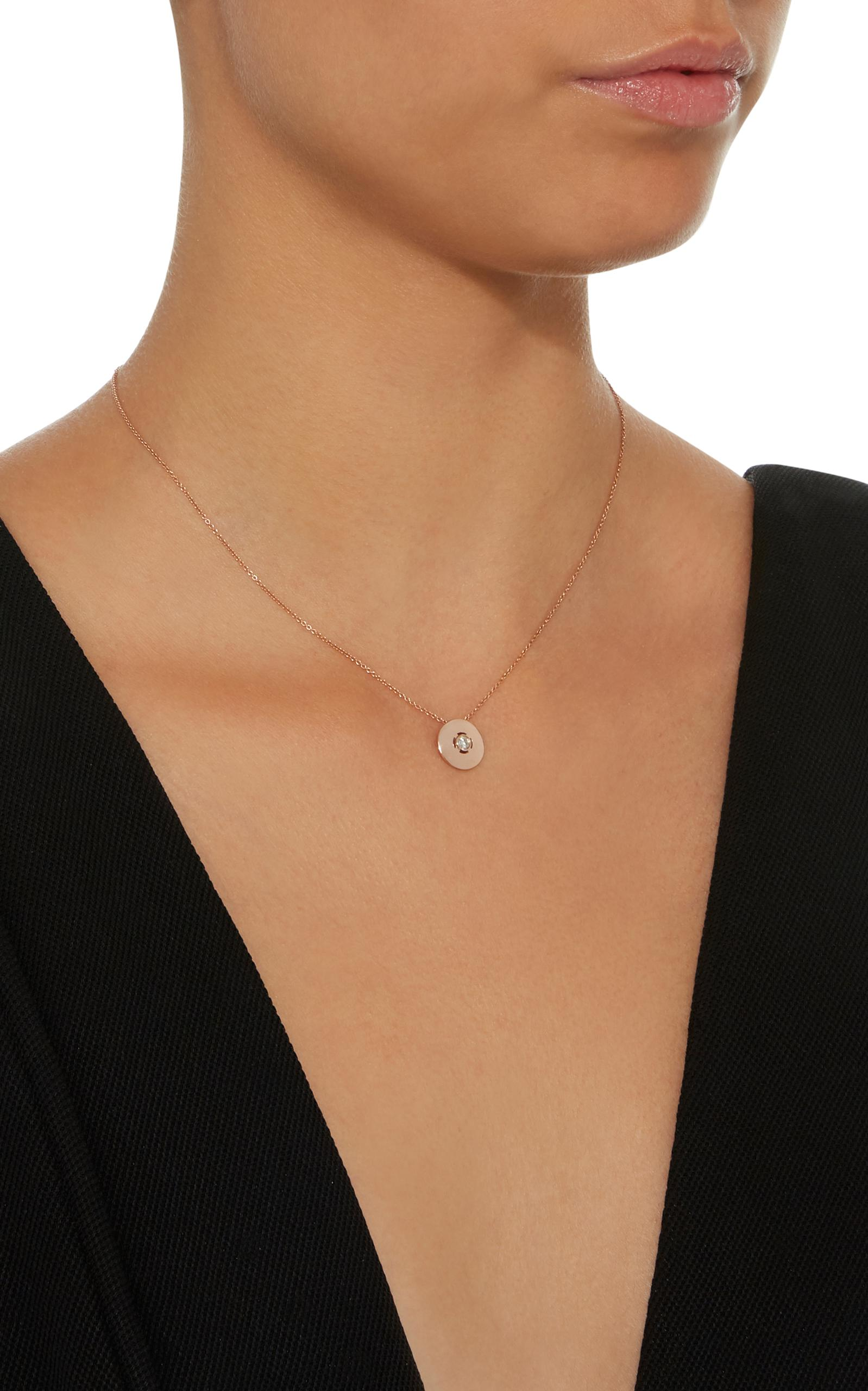 Carbon & Hyde Discus 18k Rose Gold Diamond Necklace in White
