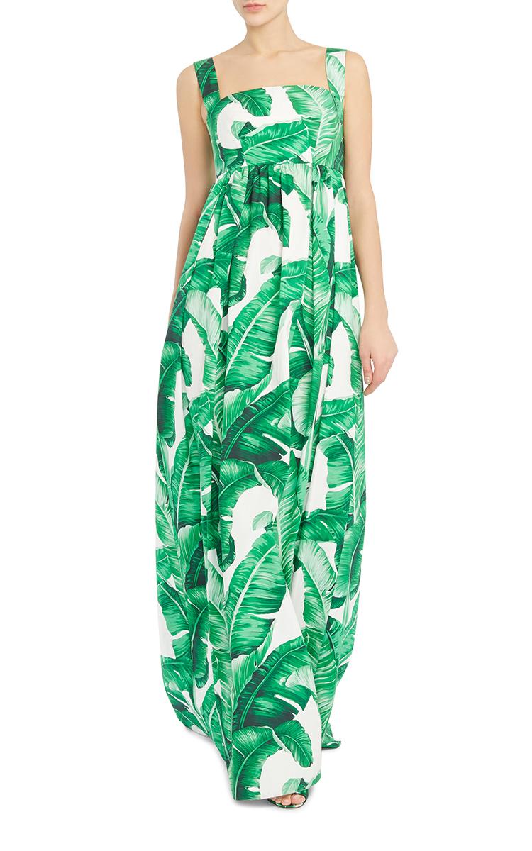 Dolce Amp Gabbana Palm Leaf Maxi Dress In Blue Lyst