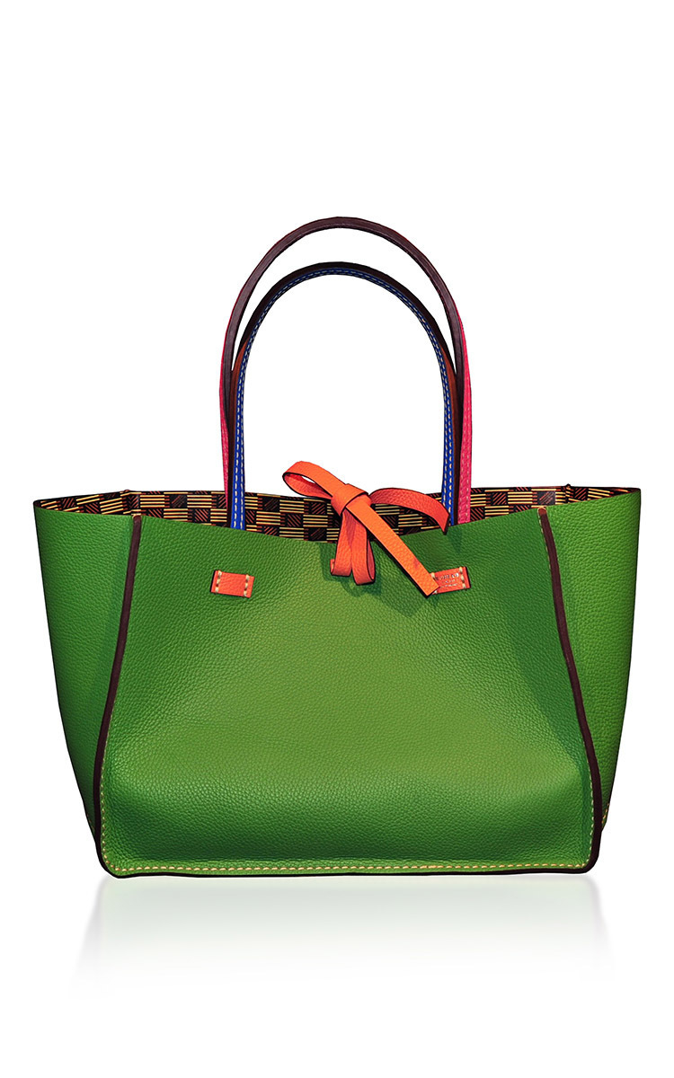 Moreau Leather M'onogrammable Vincennes Medium Reversible Tote in Green