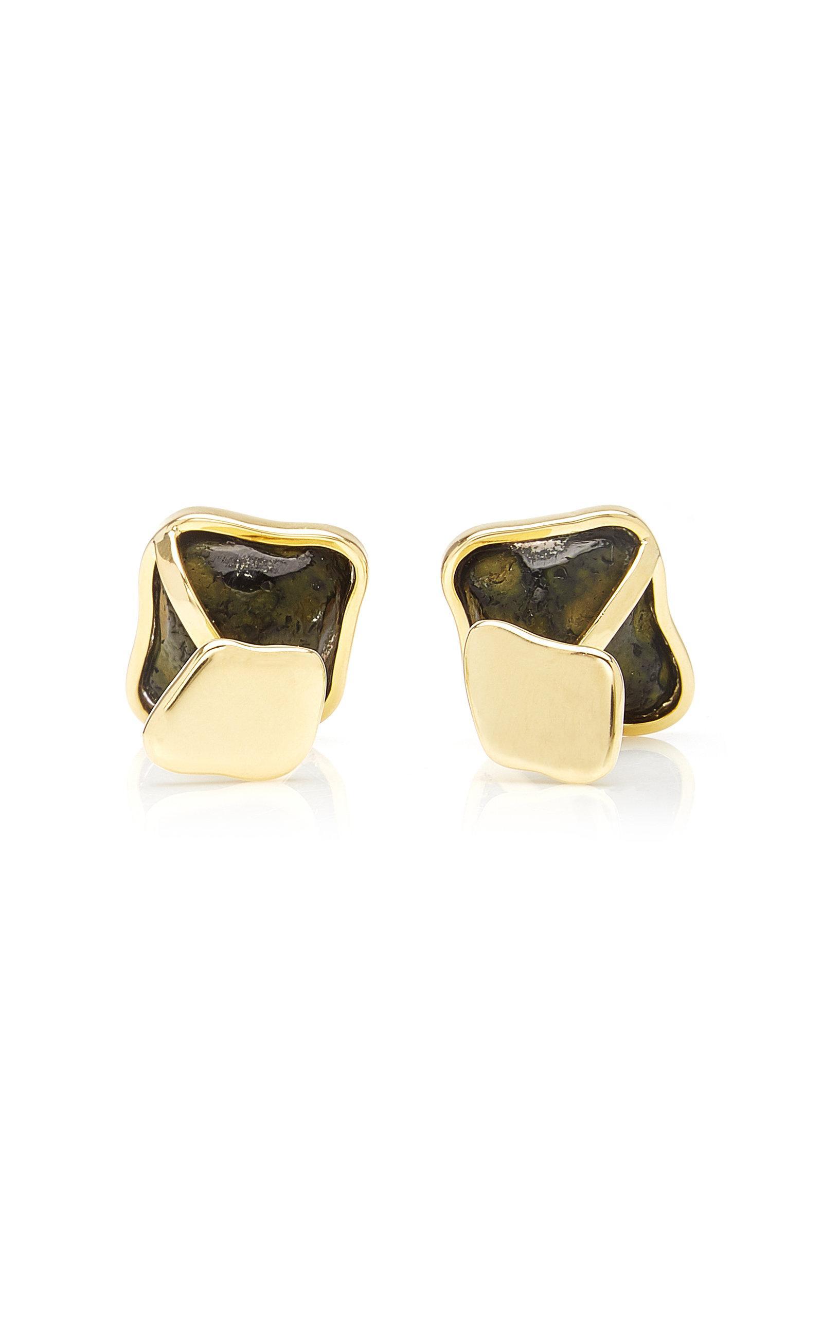 18KT Gold Vermeil Over Sterling Silver Stud Design Cufflinks
