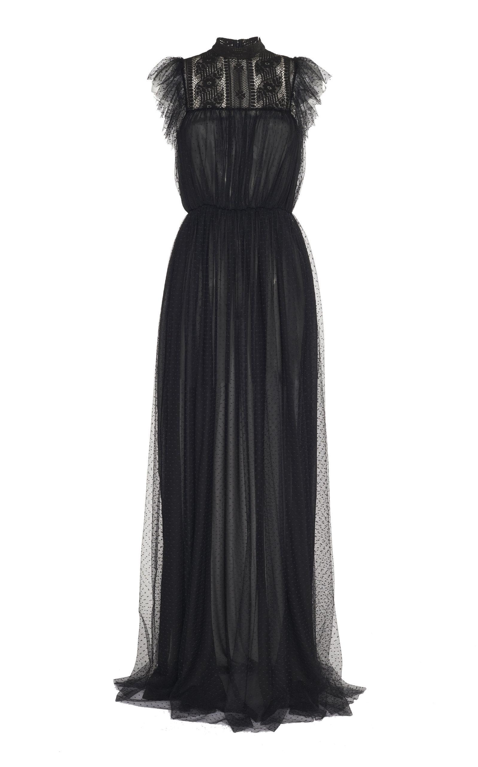 42c1749c02 Lyst - Giambattista Valli Ruffle Maxi Dress in Black