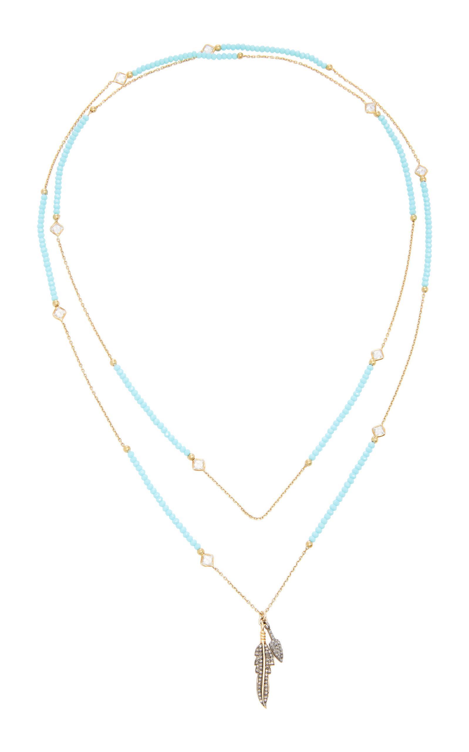 Claw Rhodium-Plated Quartz And Diamond Necklace Nickho Rey aKILXMNo