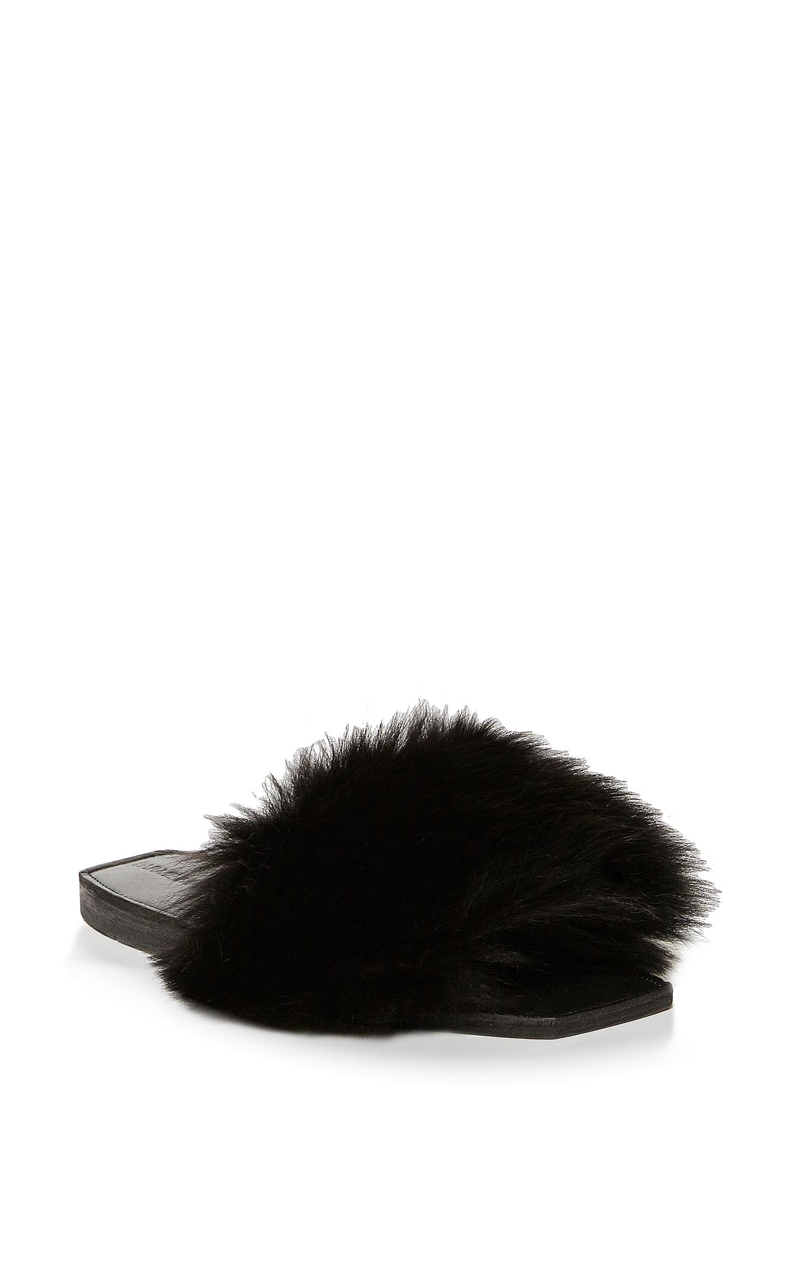 2e8f633d64309 Lyst - Parme Marin Furry Baby Sandals in Black