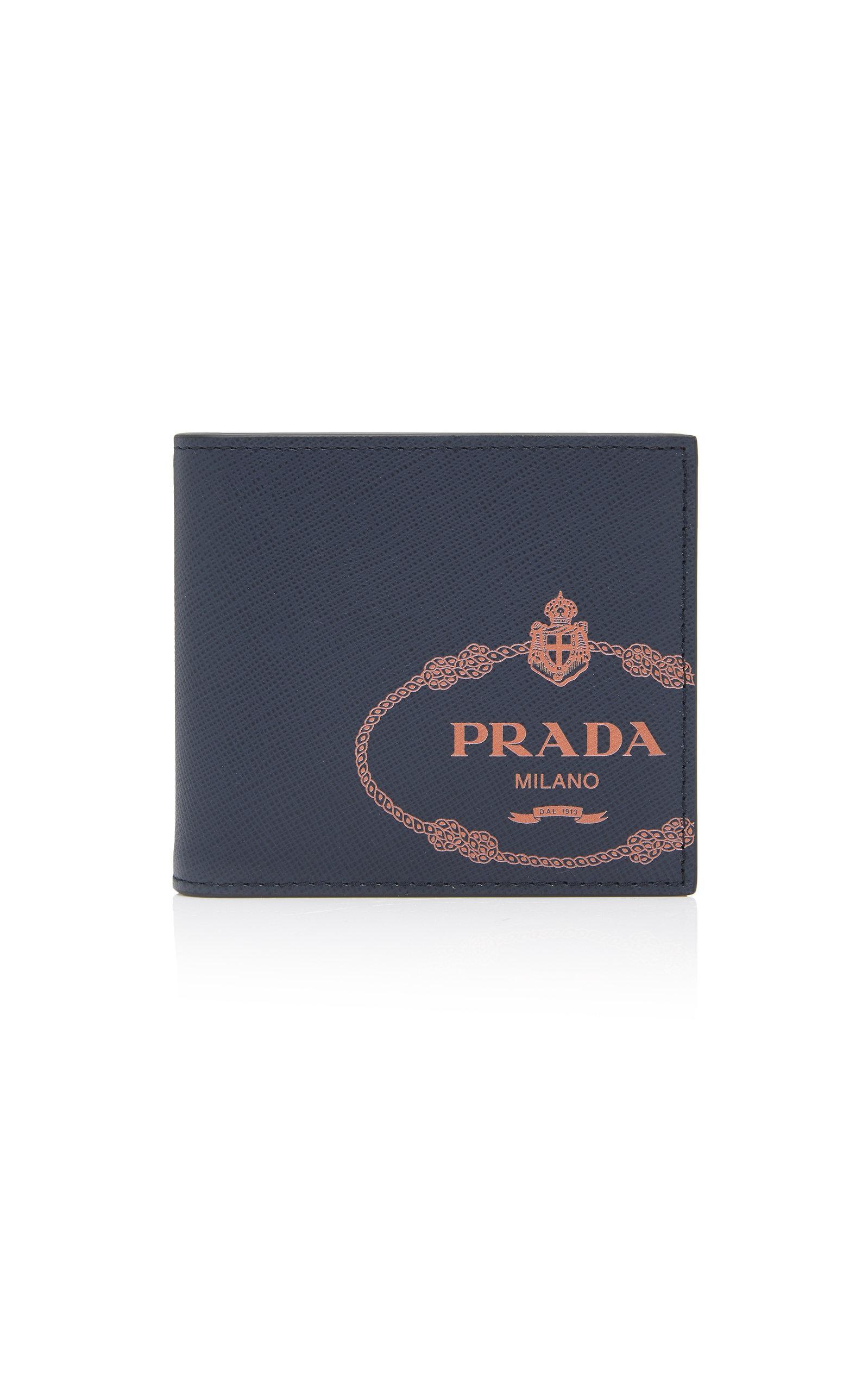 18a9b7db1d66 Prada - Blue Logo-printed Saffiano Leather Wallet for Men - Lyst. View  fullscreen