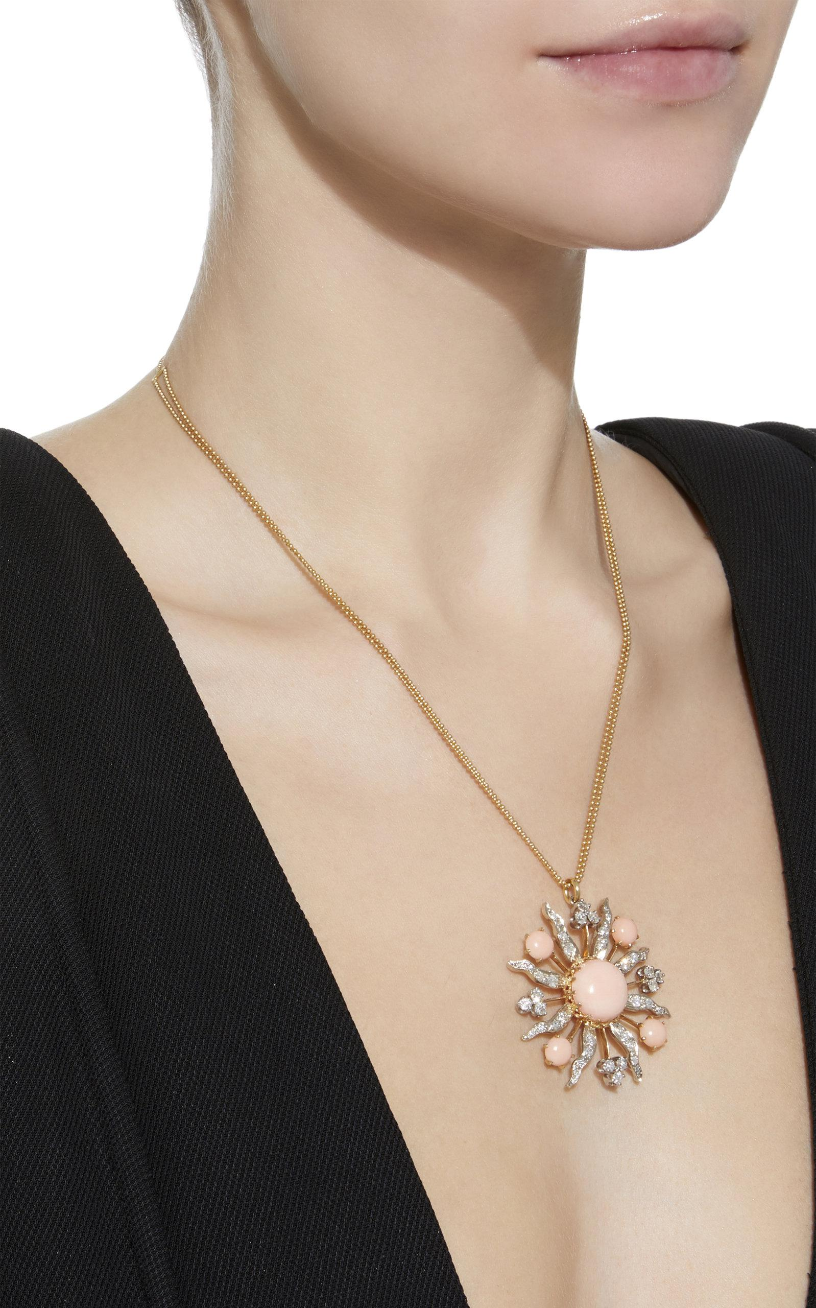 Renee Lewis One-of-a-kind Gold Antique Diamond And Angelskin Coral Sunburst Necklace in Pink