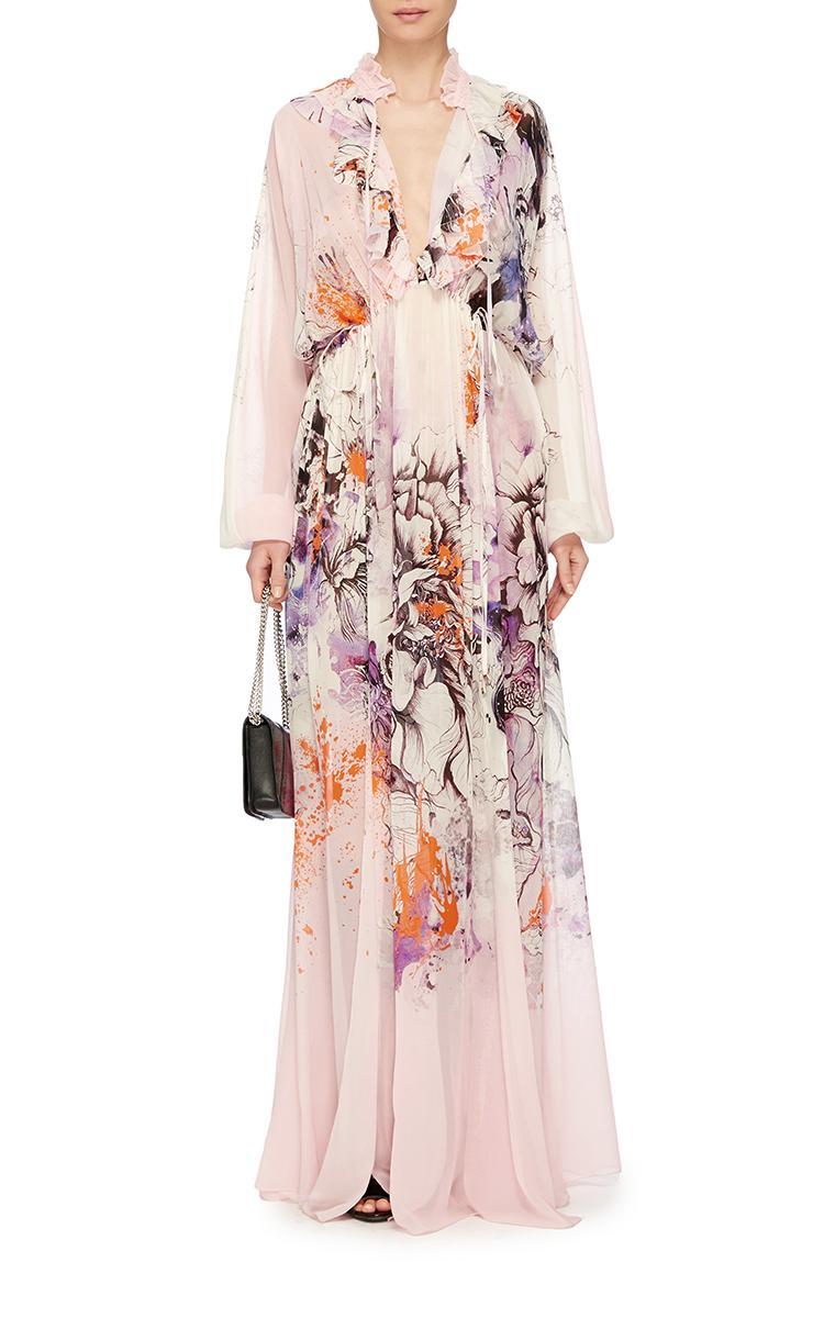 Floral silk chiffon dress the