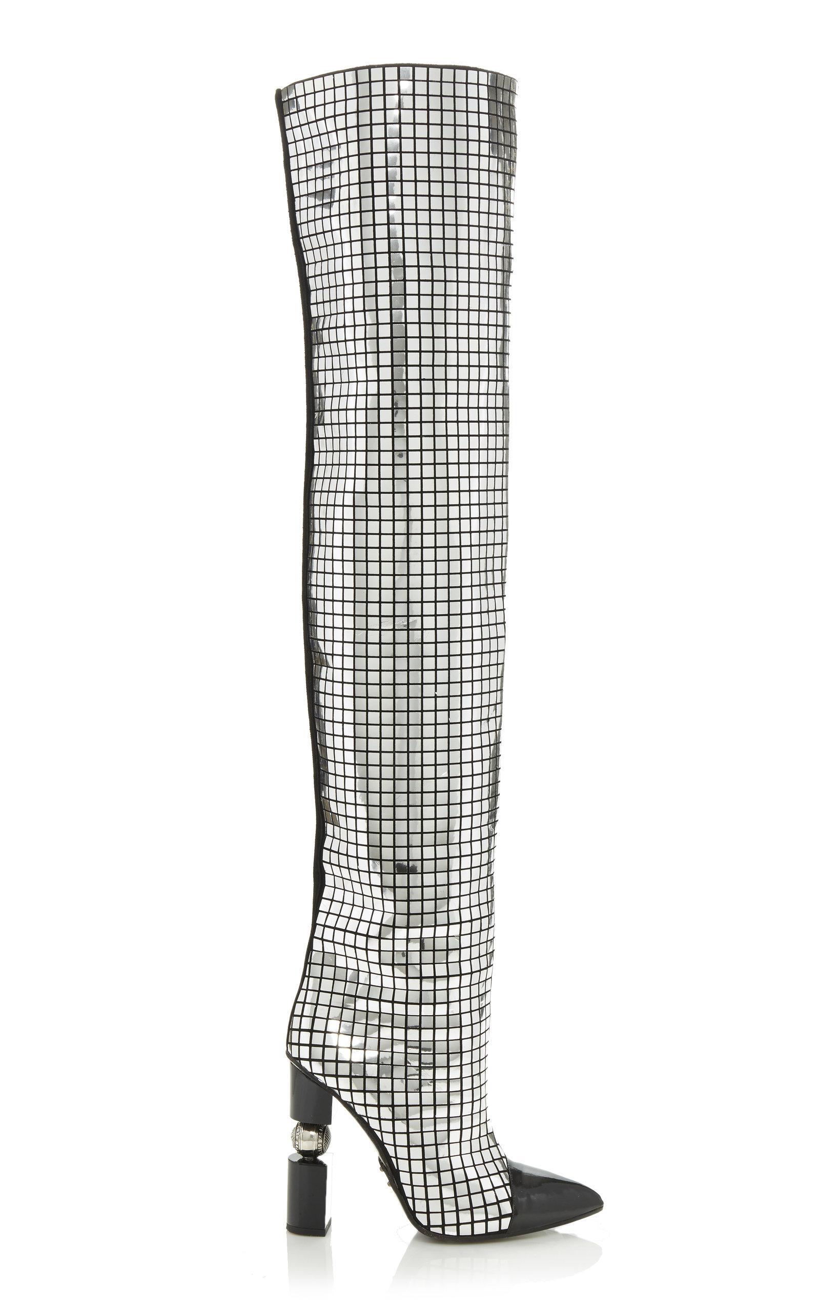 Balmain Leather Kim Mirror Boot in