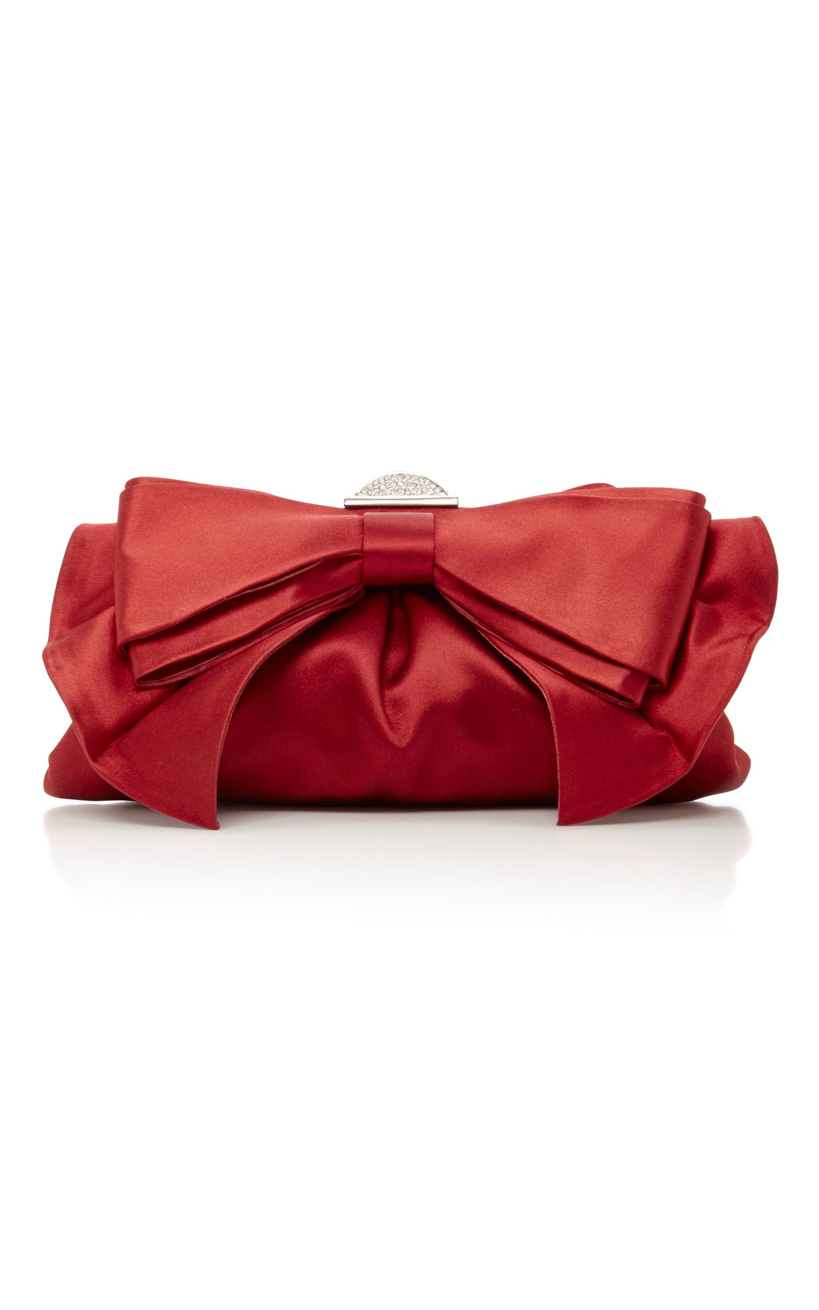 Judith Leiber Couture Madison Satin Bow Evening Clutch Bag In Red | Lyst