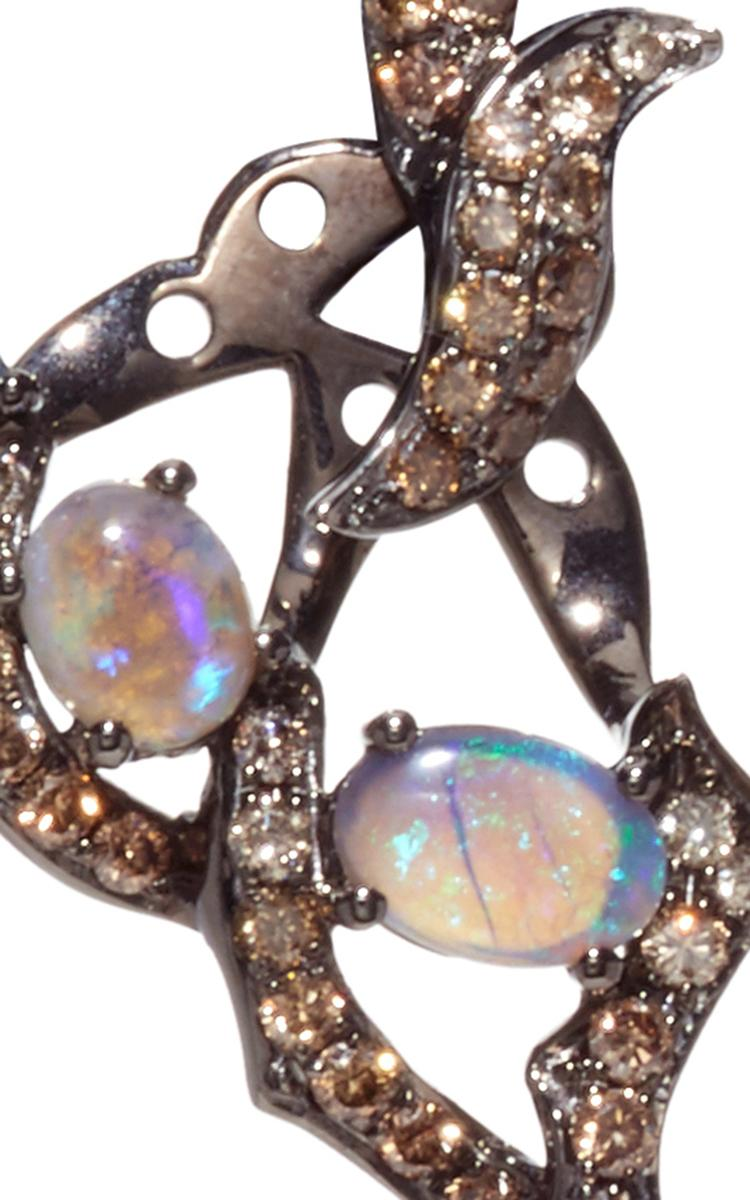 lyst wendy yue opal and champagne diamond earrings. Black Bedroom Furniture Sets. Home Design Ideas