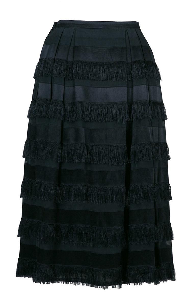 Lena Hoschek Ocean Tiered Tassel Skirt in Navy (Blue)