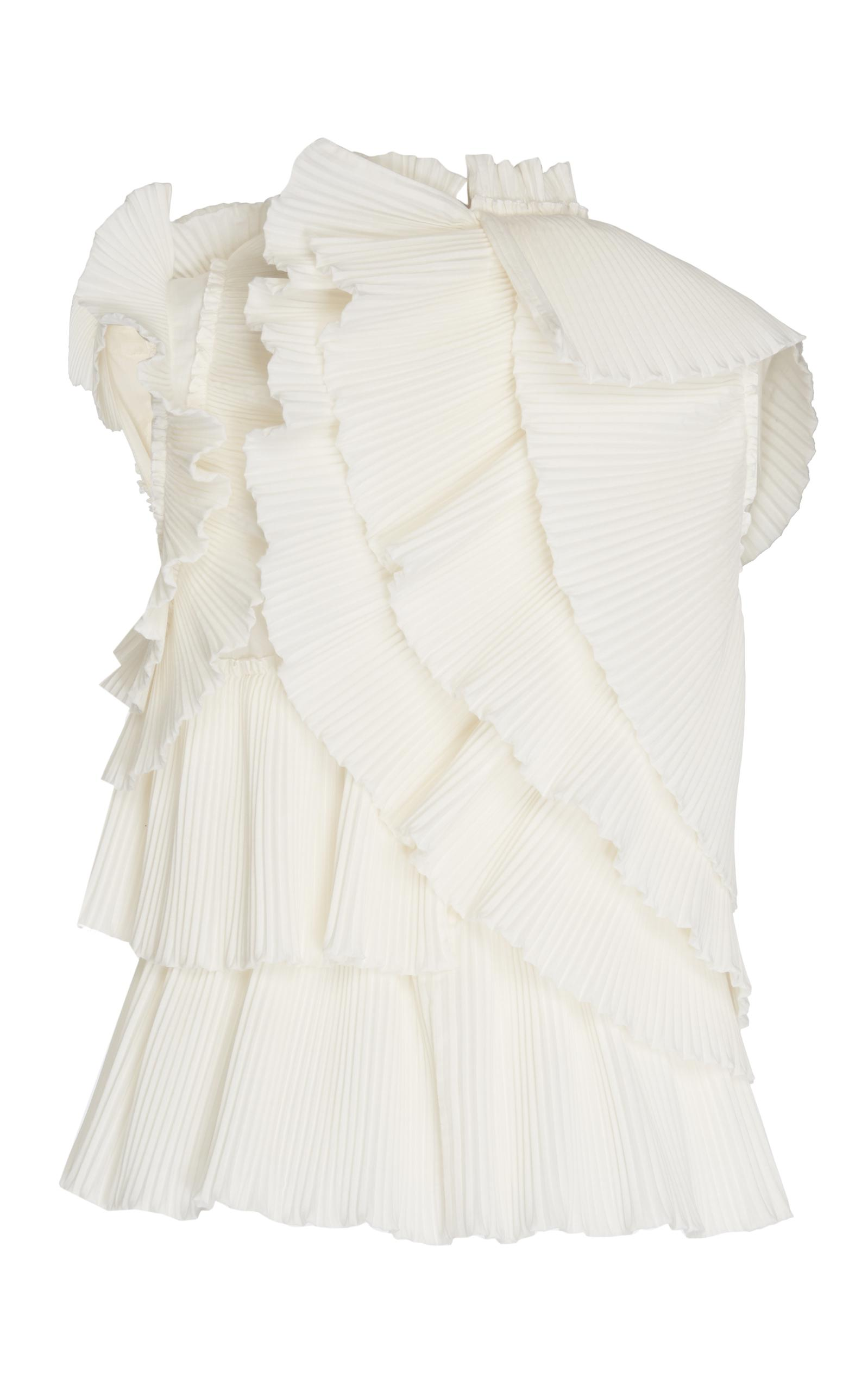 Pascal Millet Micro Pleat Layered Top With Flower In White Lyst