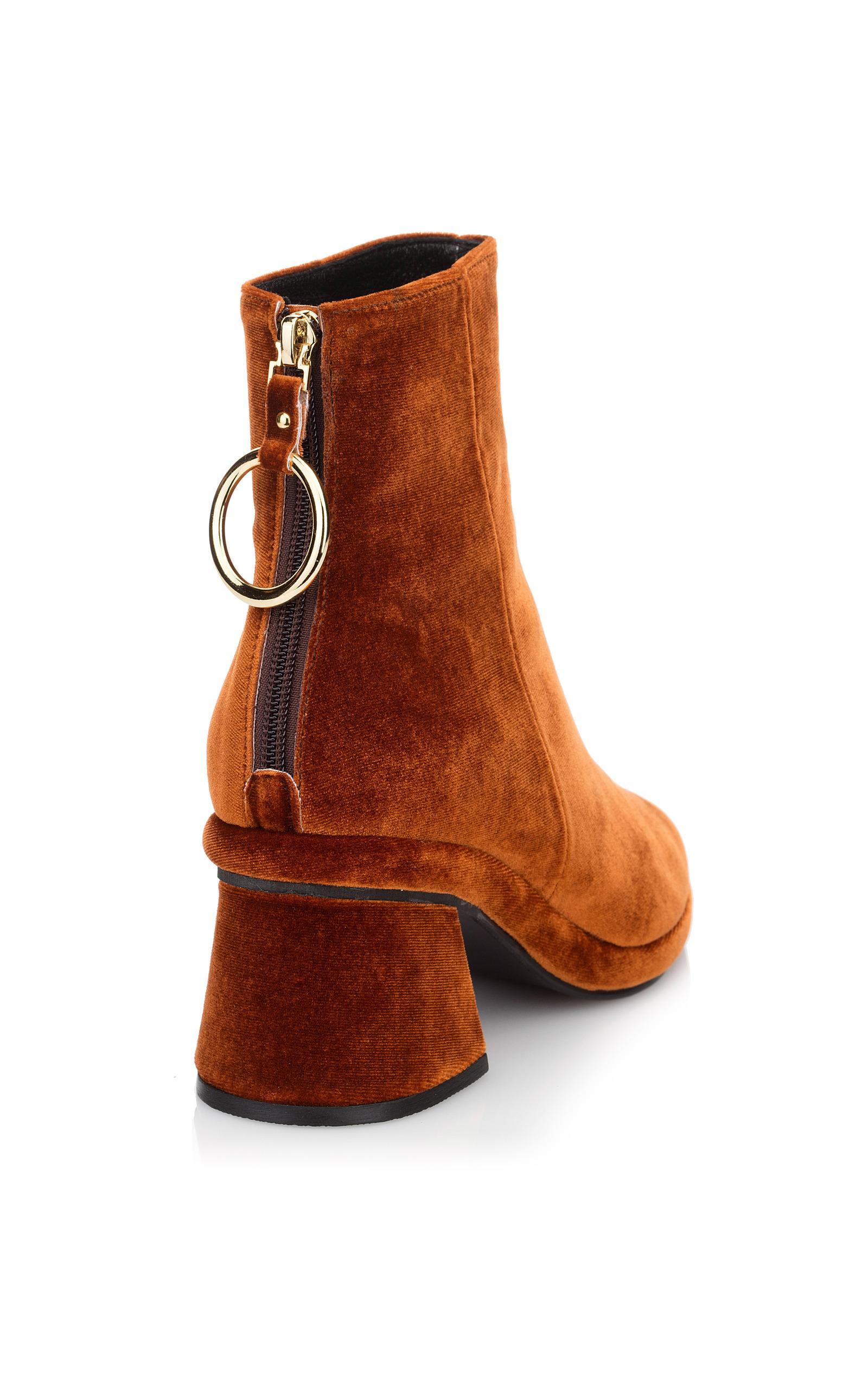Reike Nen Velvet Ring Slim Ankle Boot in Brown