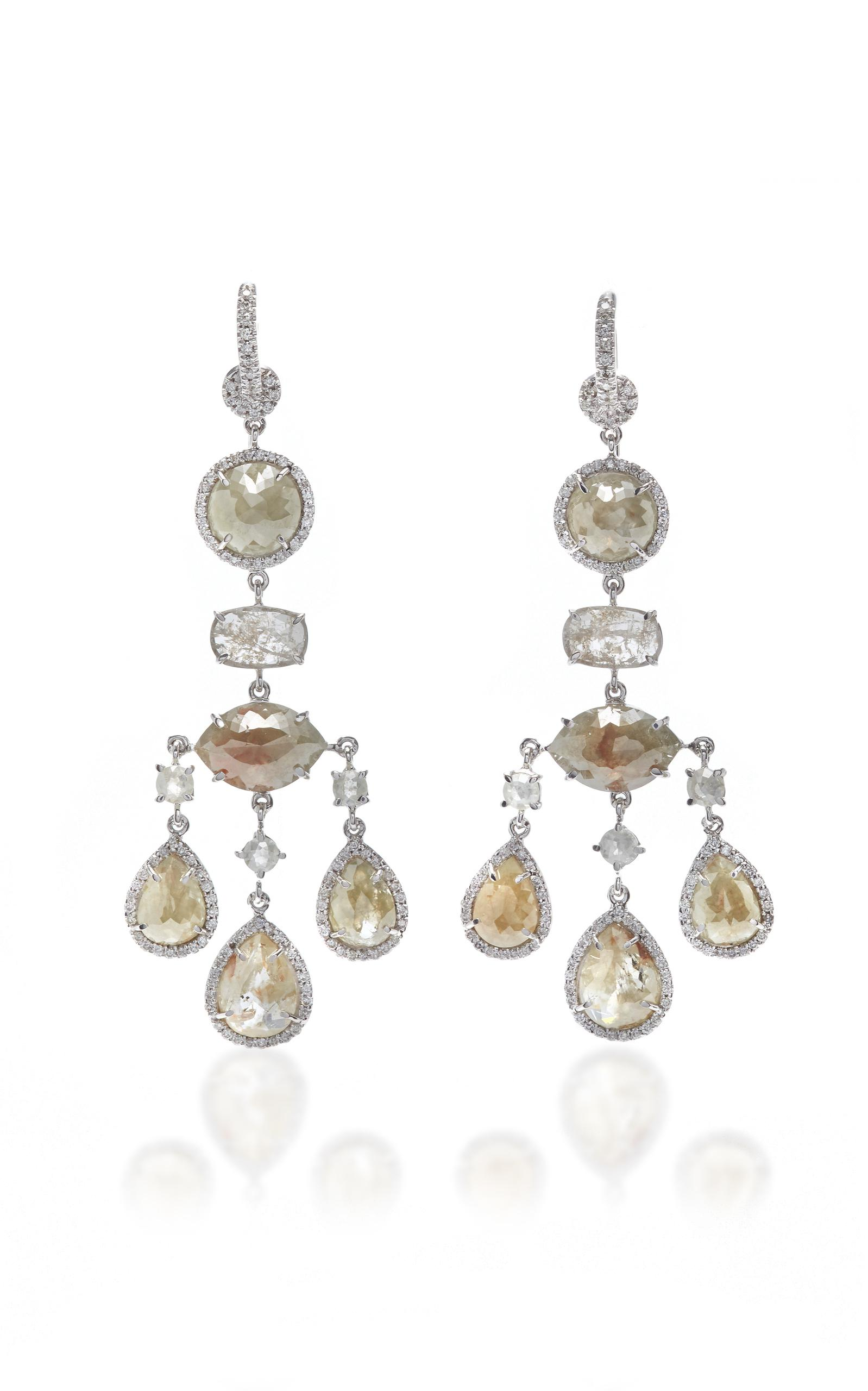 Lyst Nina Runsdorf 18k White Gold And Diamond Chandelier Earrings