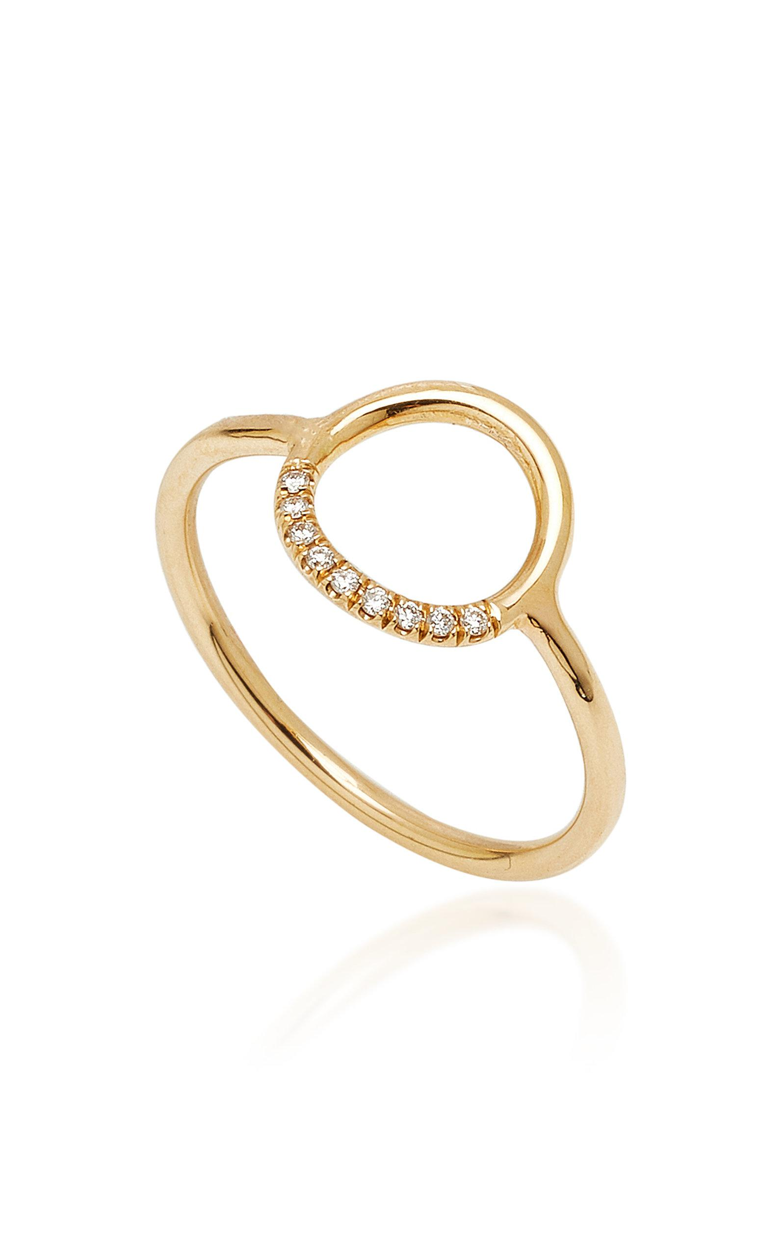 Zoe Chicco 14k Gold Small Pave Cirlce Ring in Metallic