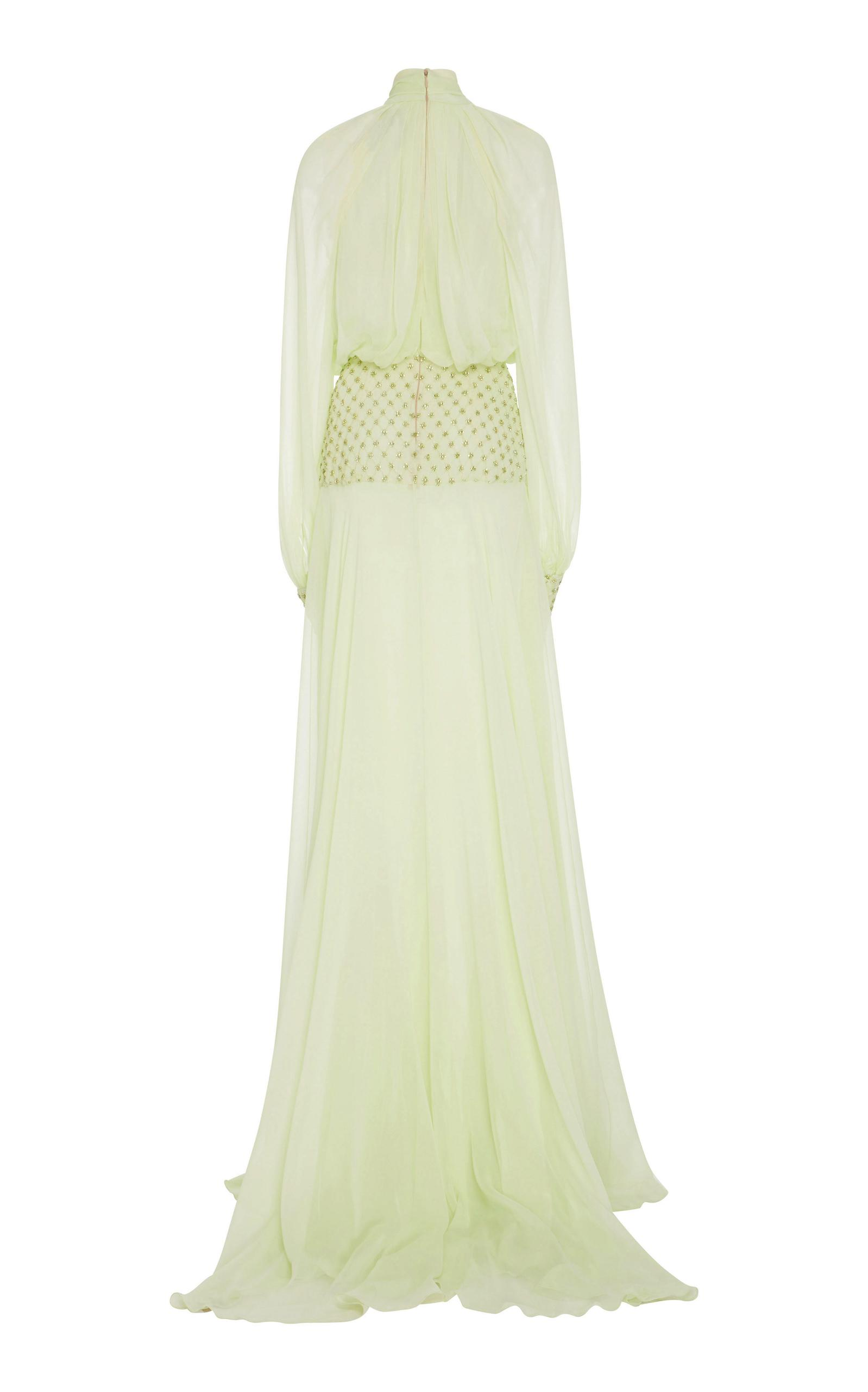 Monique Lhuillier Silk Embroidered Draped Sleeve Gown in Green