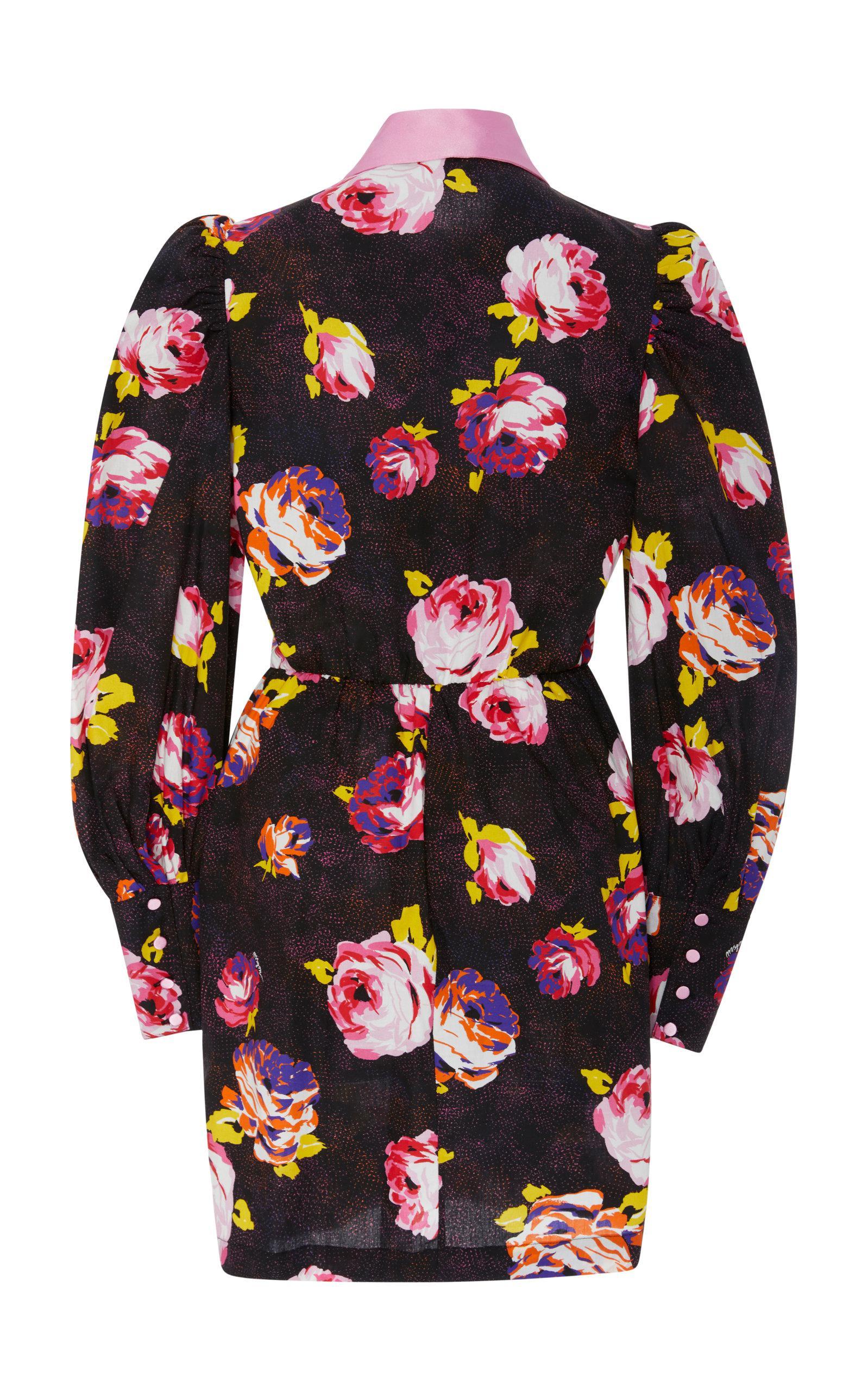 Floral Printed Button-up Mini Dress Msgm 3hIKjb7k