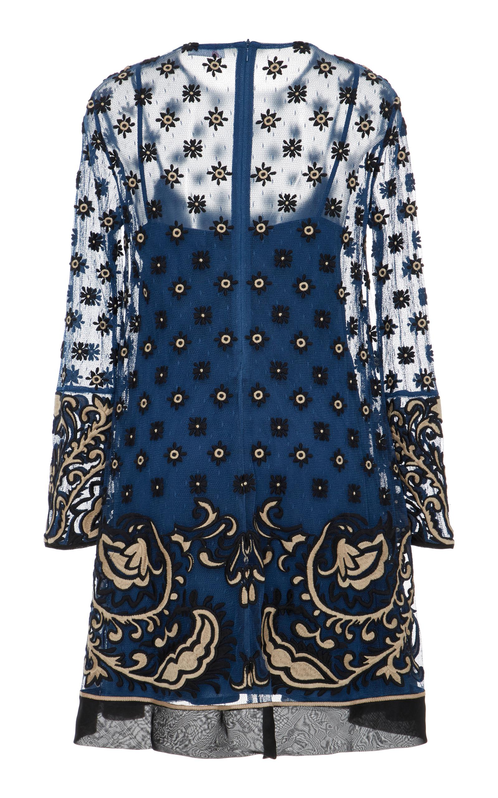 19e9193b9d74 RED Valentino - Blue Point D'esprit Bandana Embroidery Mini Dress - Lyst