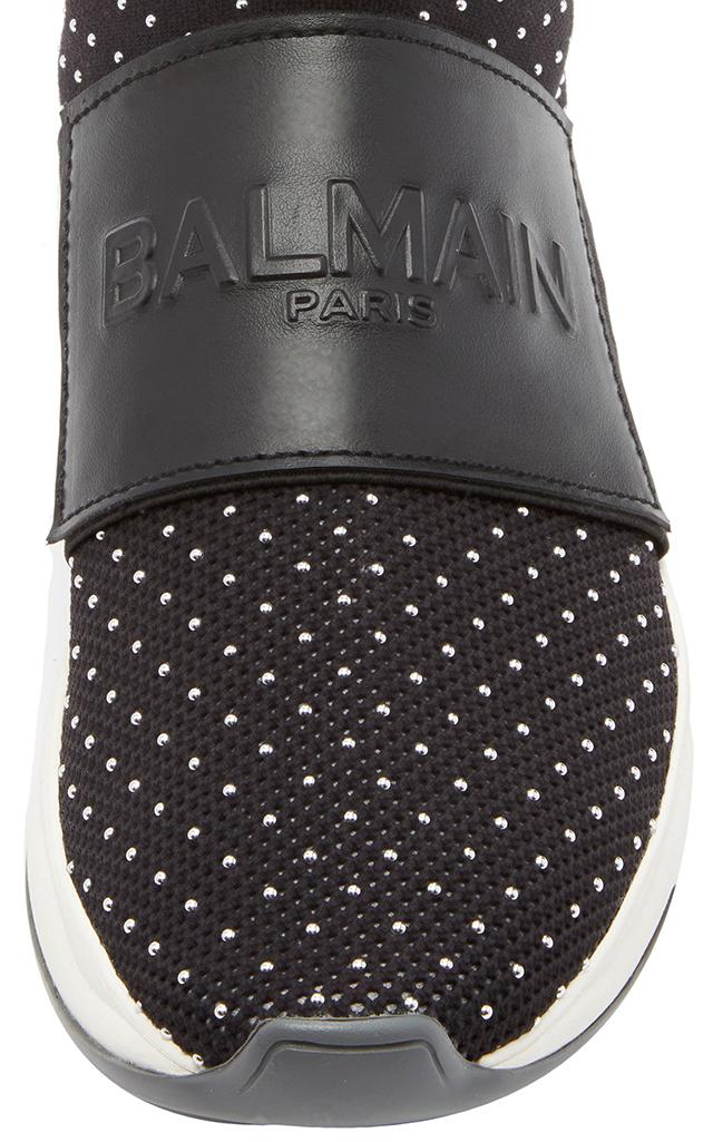 Balmain Leather Cameron Studded Sneaker in Black