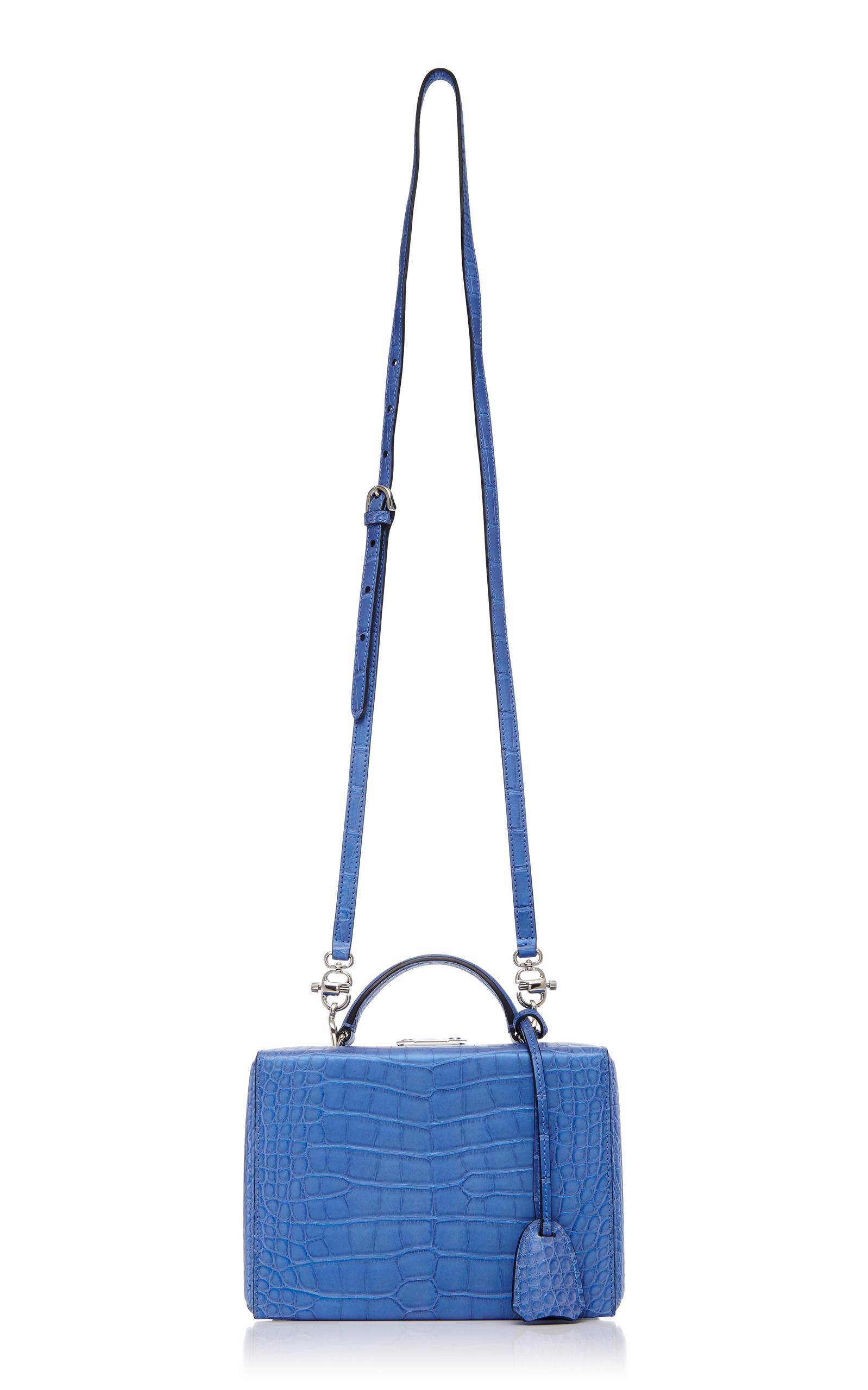 Mark Cross Small Alligator Grace Box Bag in Blue