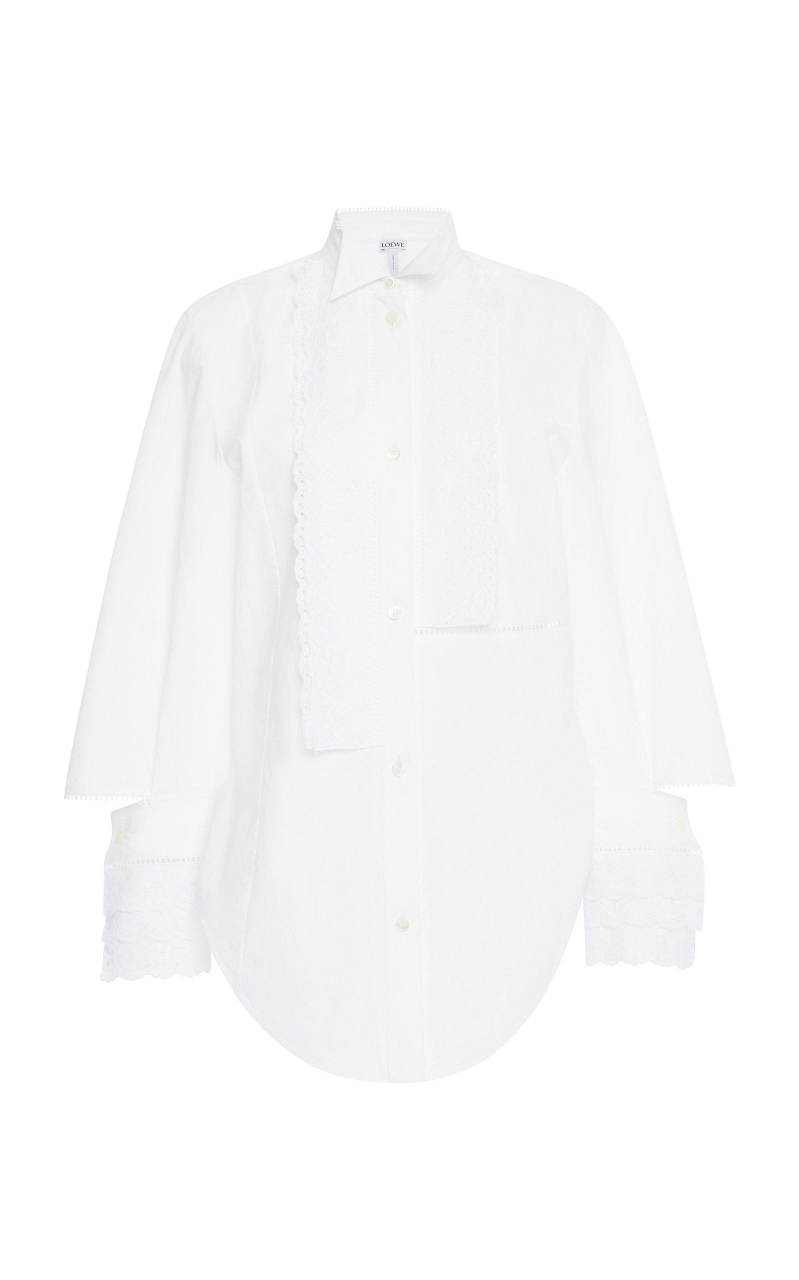 42fd84d54a5 Lyst - Loewe Broderie Anglaise Ruffle Poplin Shirt in White