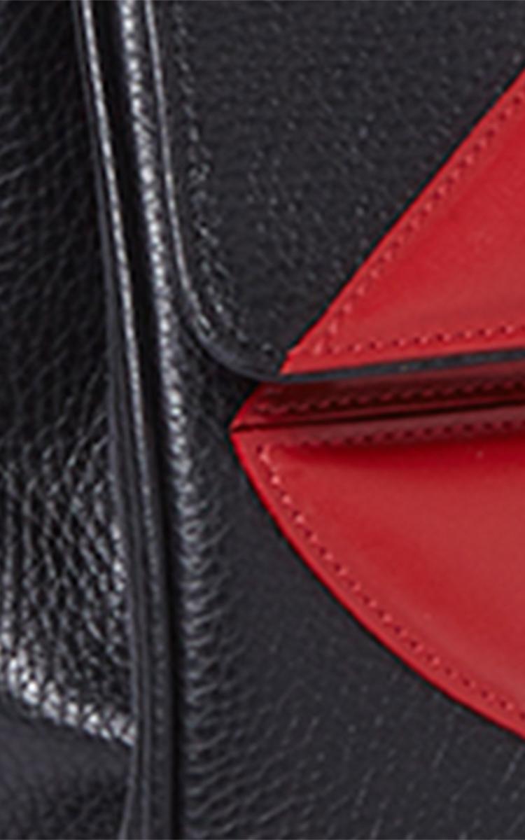 Sara Battaglia Leather Medium Black Tote Lips Top Handle Bag