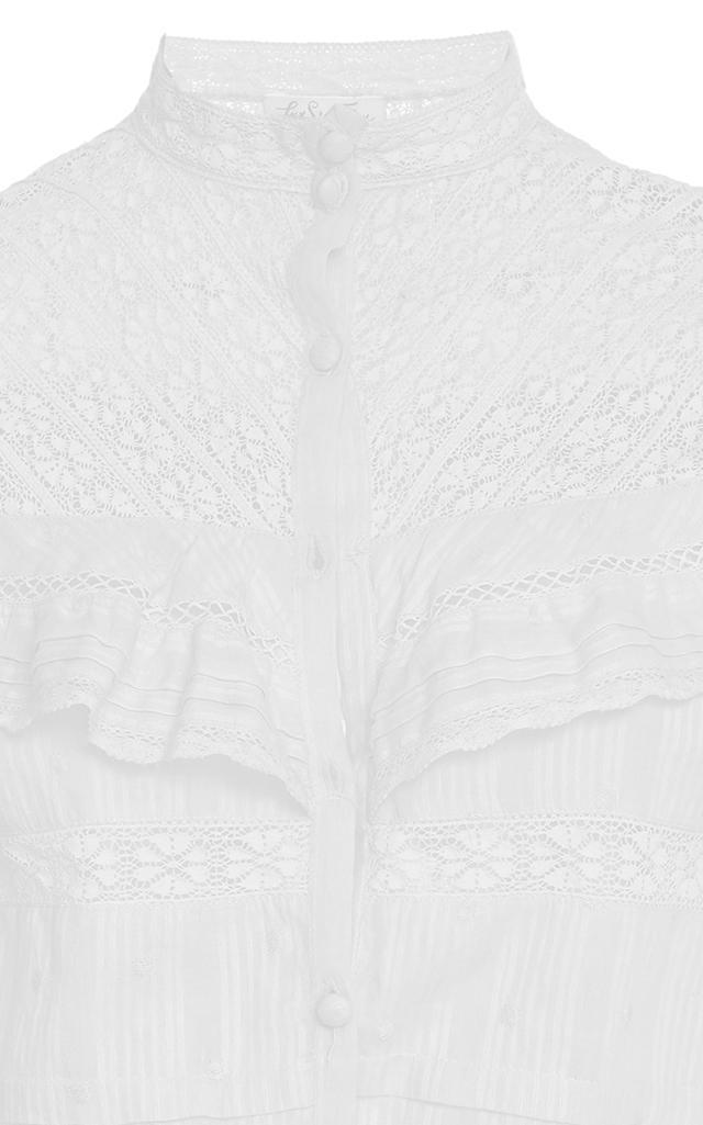 LoveShackFancy Austen Lace Ruffle Top in White