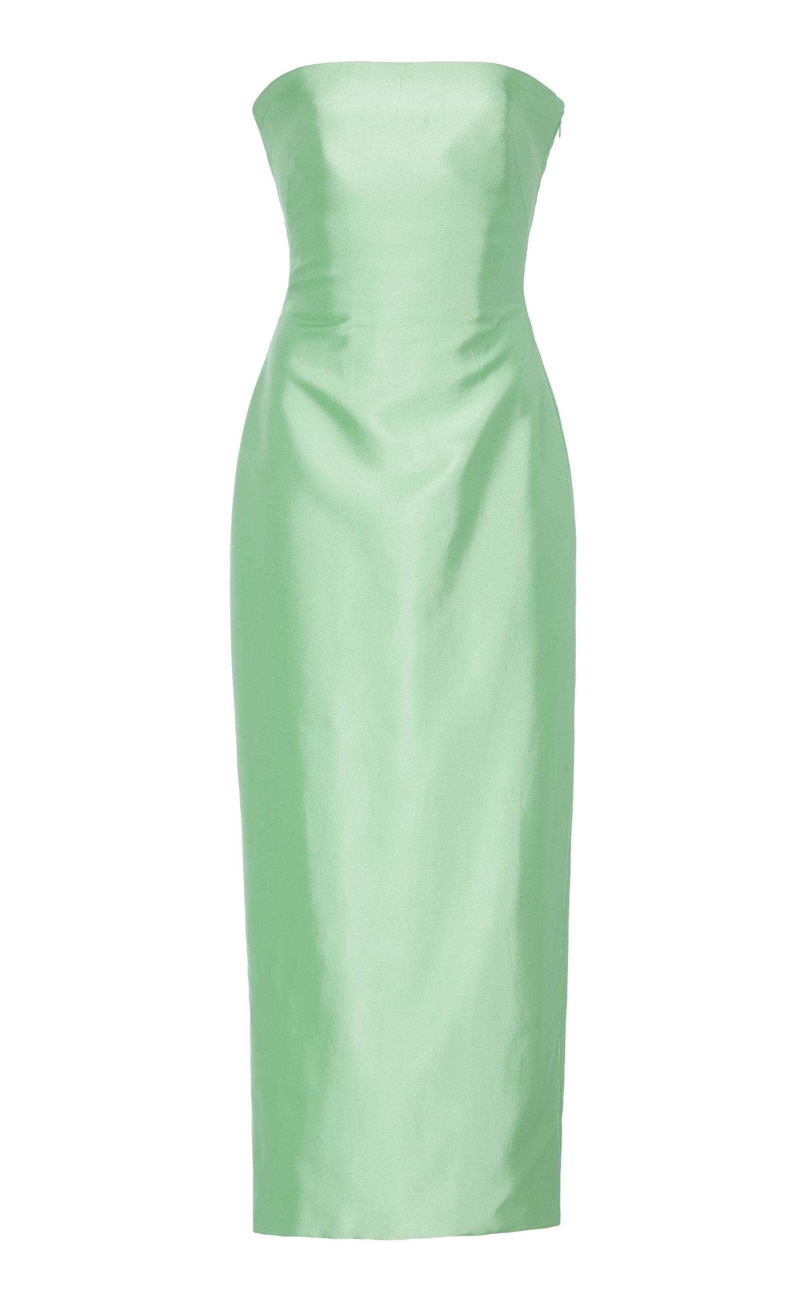 291bea53fbe Brandon Maxwell. Women s Green Strapless Knotted-back Satin Cocktail Dress.   2