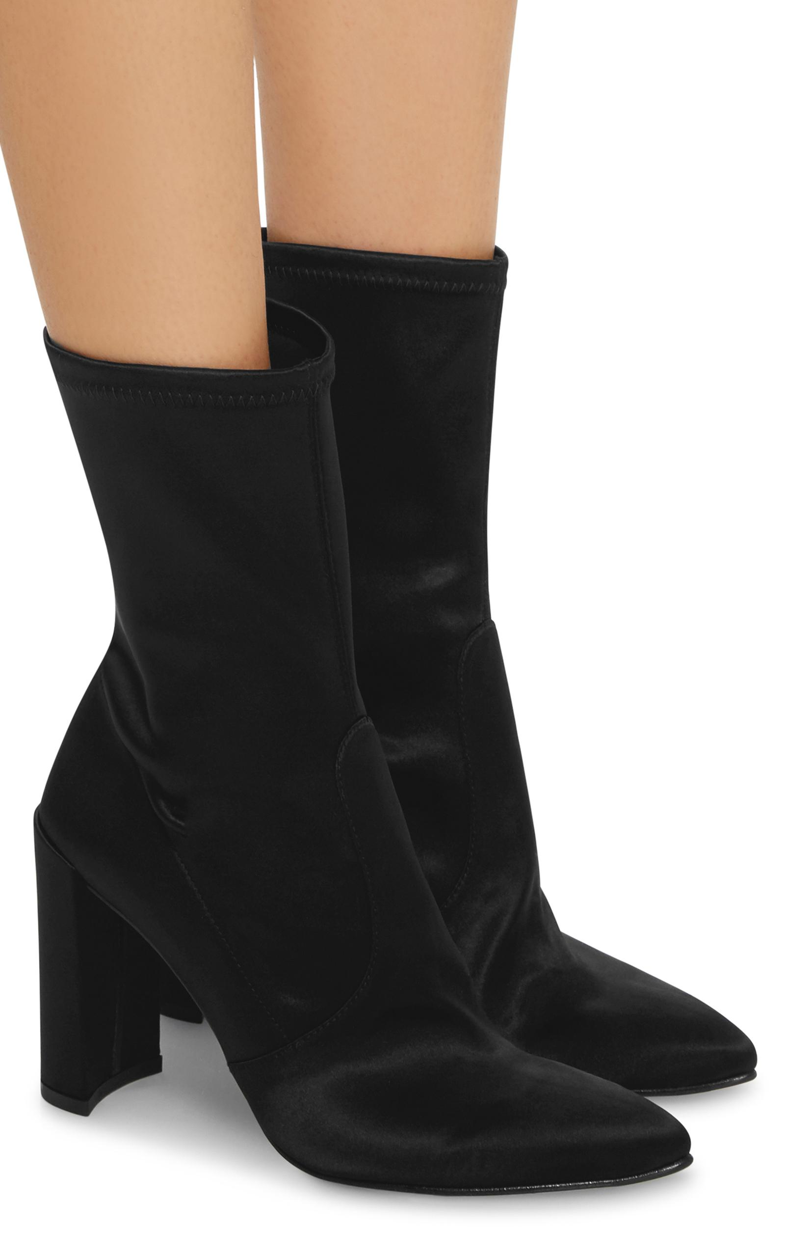 Stuart Weitzman Clinger Stretch Satin Ankle Boots In Black