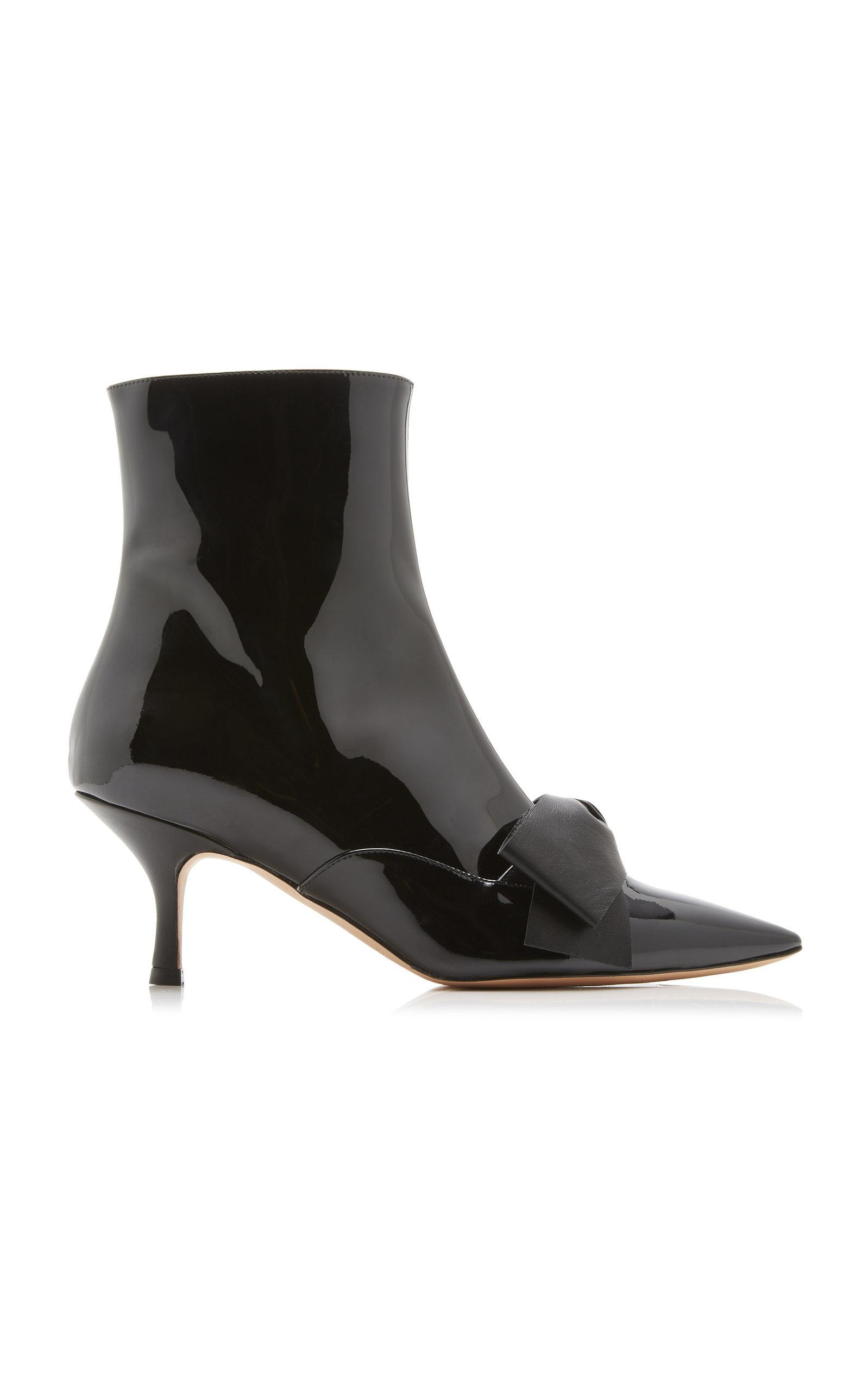 7b99757f2ab Lyst - Rochas Patent Bow Booties in Black