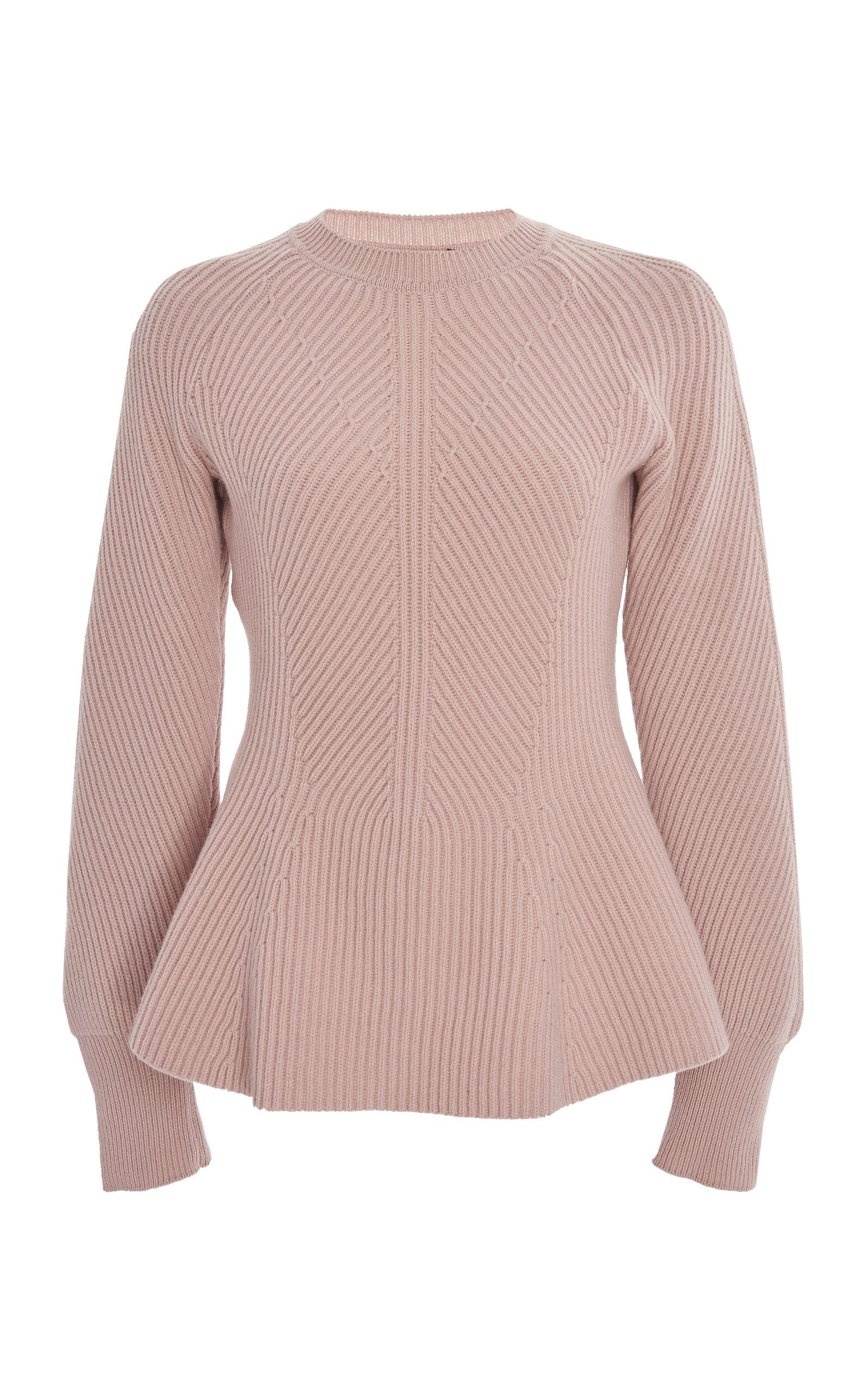 promo code 7194b dfe4f alberta-ferretti-pink-Wool-Cashmere-Peplum-Sweater.jpeg