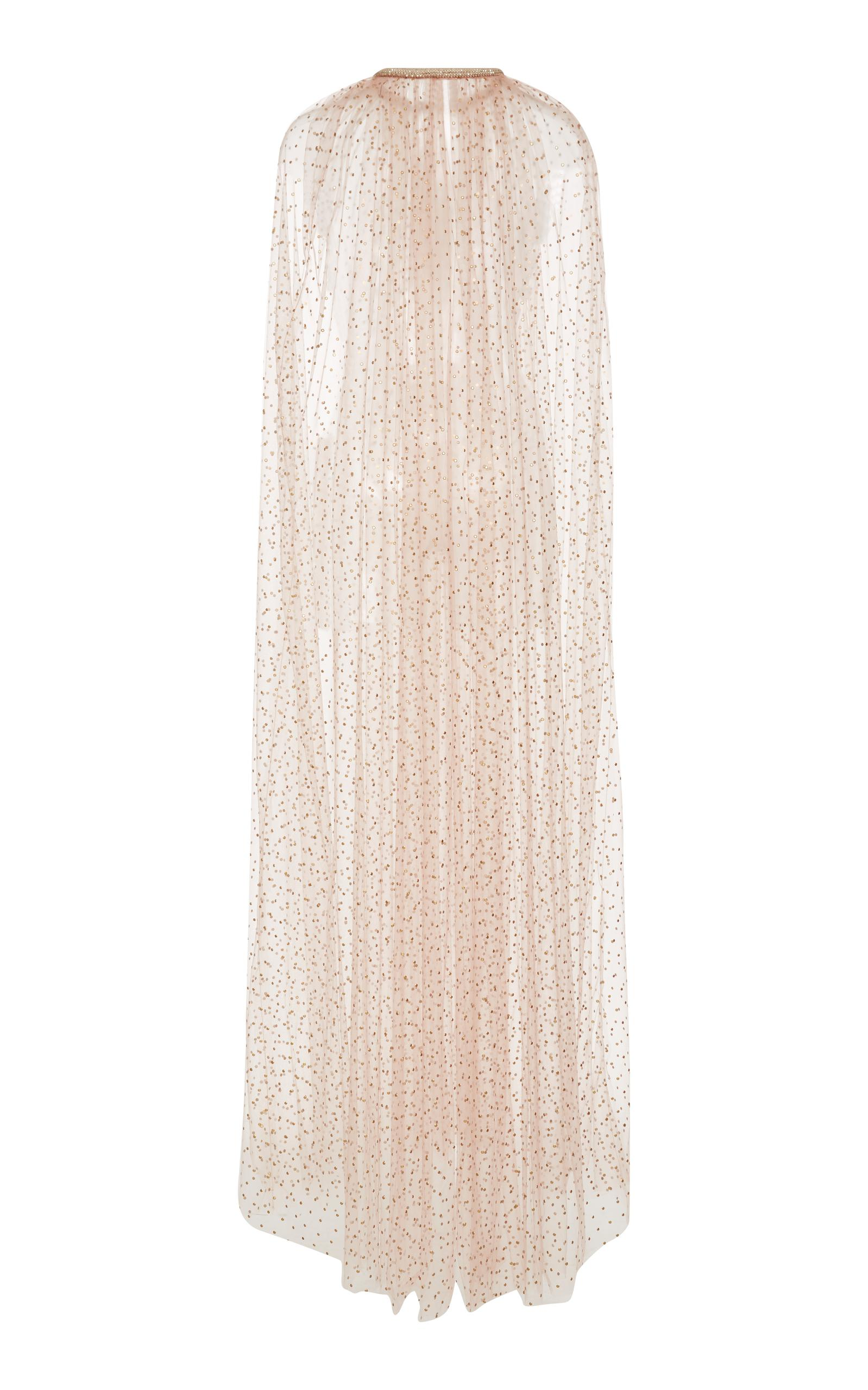 Monique Lhuillier Sheer Tulle Embroidered Cape in Gold (Metallic)