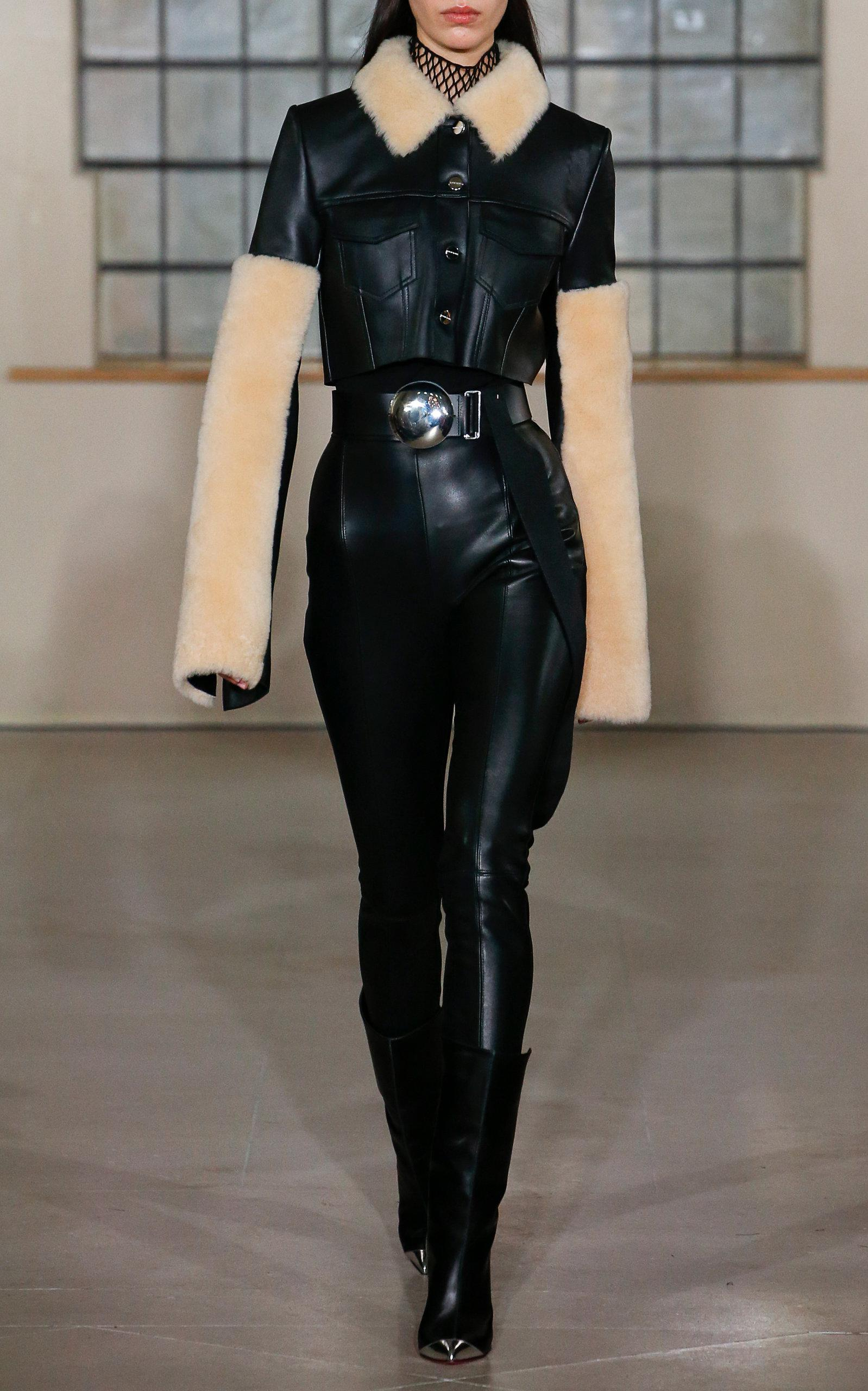 David Koma Leather And Jersey Legging in Black