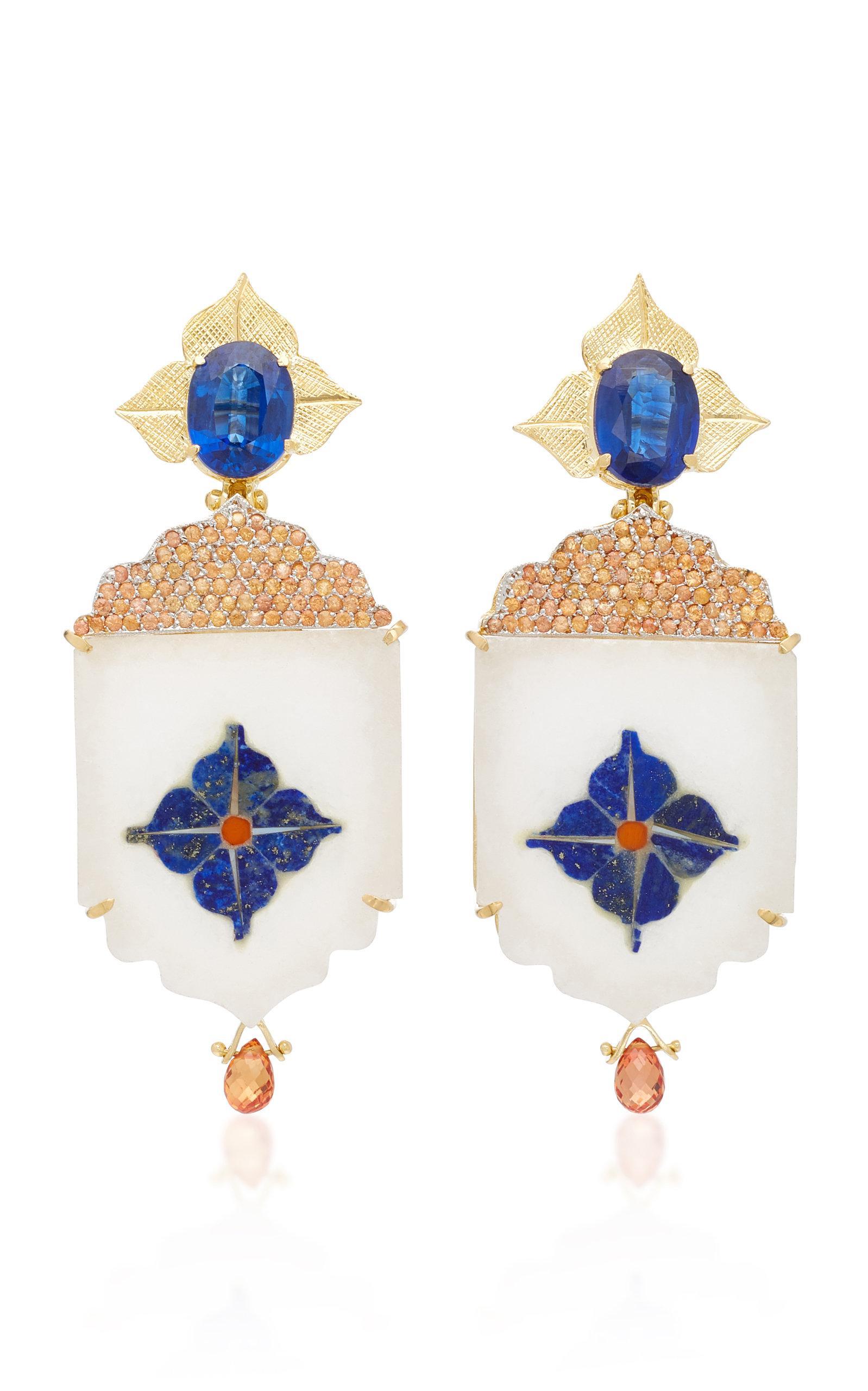 India Marble Mosaic Green Tourmaline Earrings Silvia Furmanovich fIoc0iP