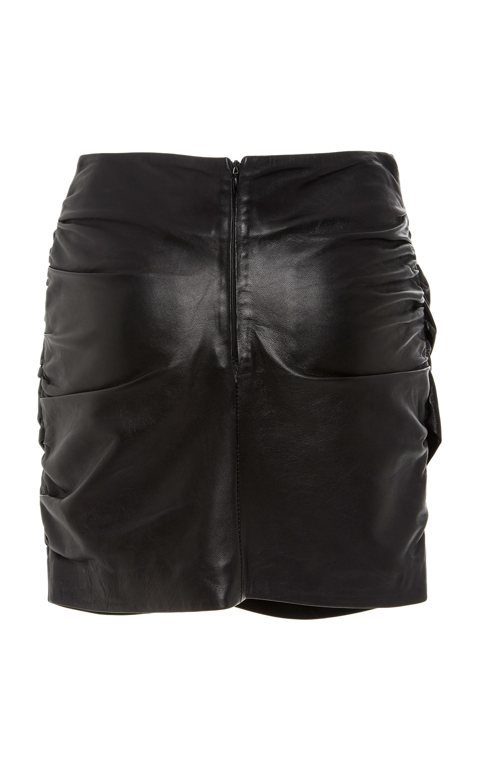 Filles A Papa Dina Gathered Leather Skirt in Black