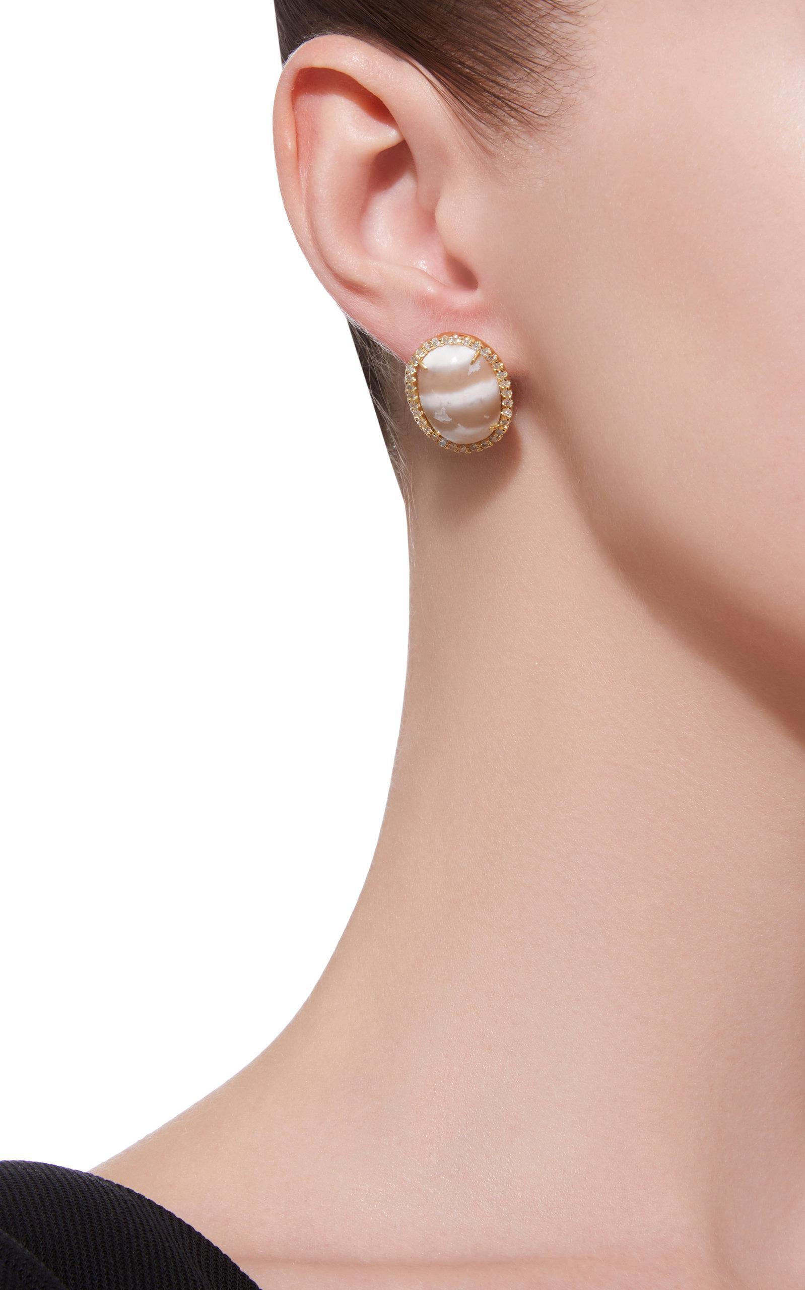 18K Gold Diamond and Chalcedony Earrings Kimberly McDonald DdhZP