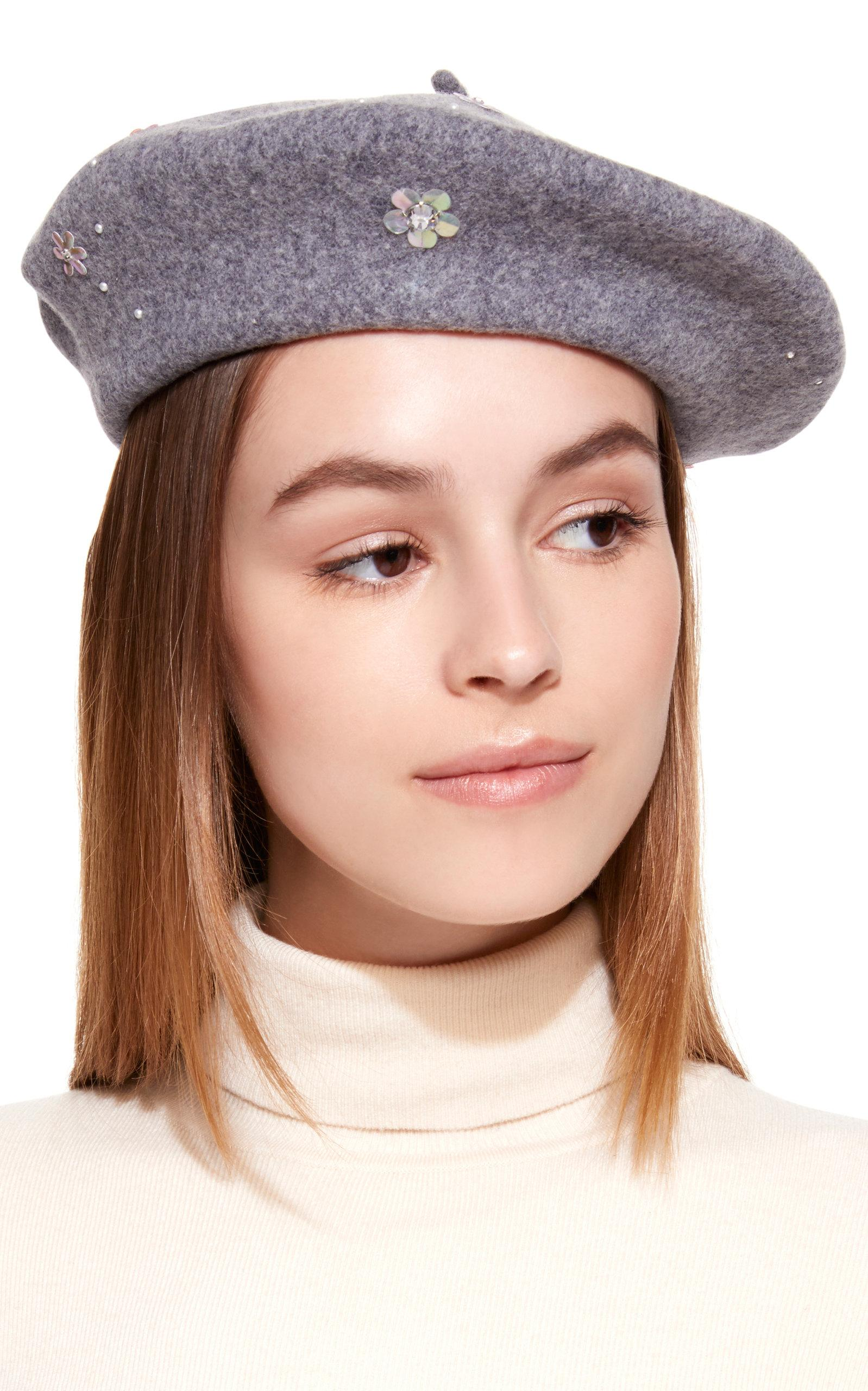 35d8e55e8aba2 Lyst - Yestadt Millinery Sequin Embellished Wool Beret in Gray