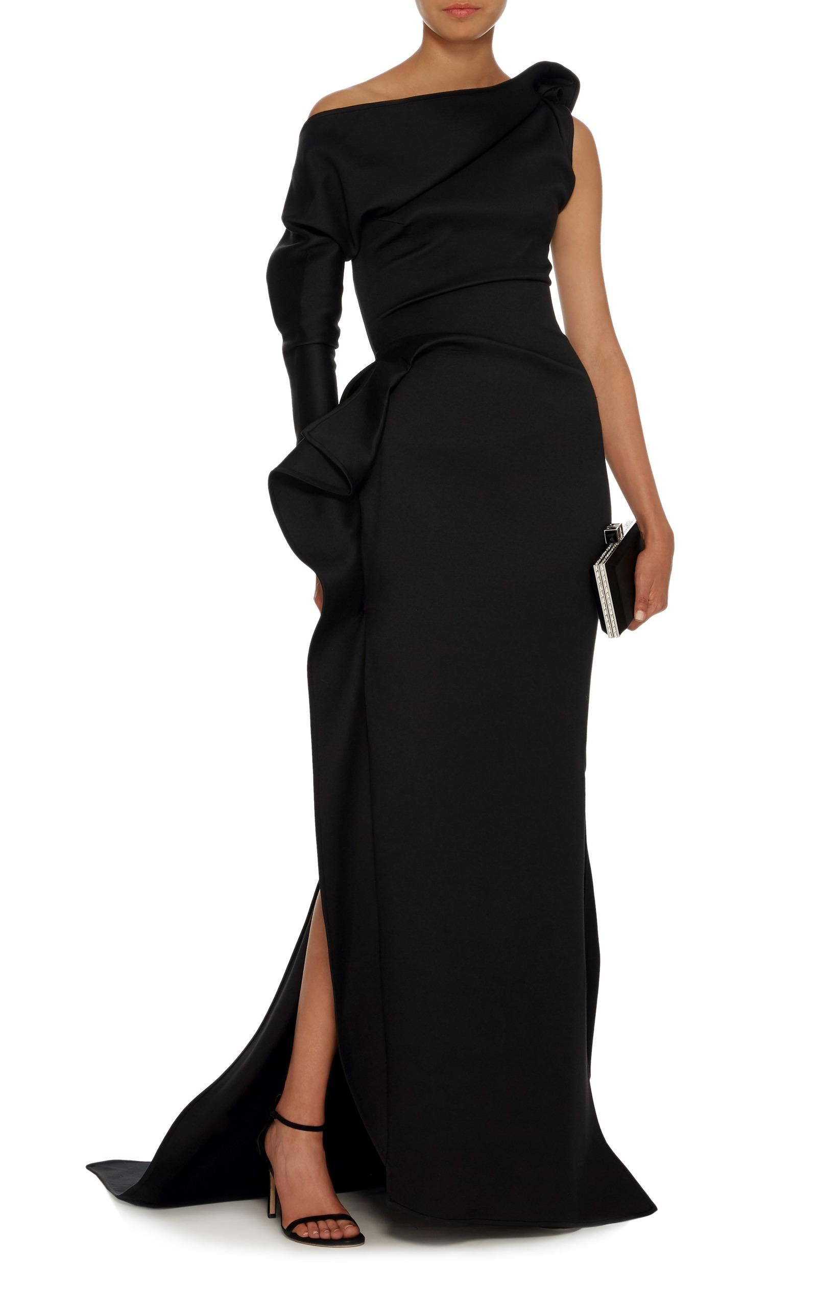 Maticevski Mysterious One-shoulder Cotton-blend Gown in Black