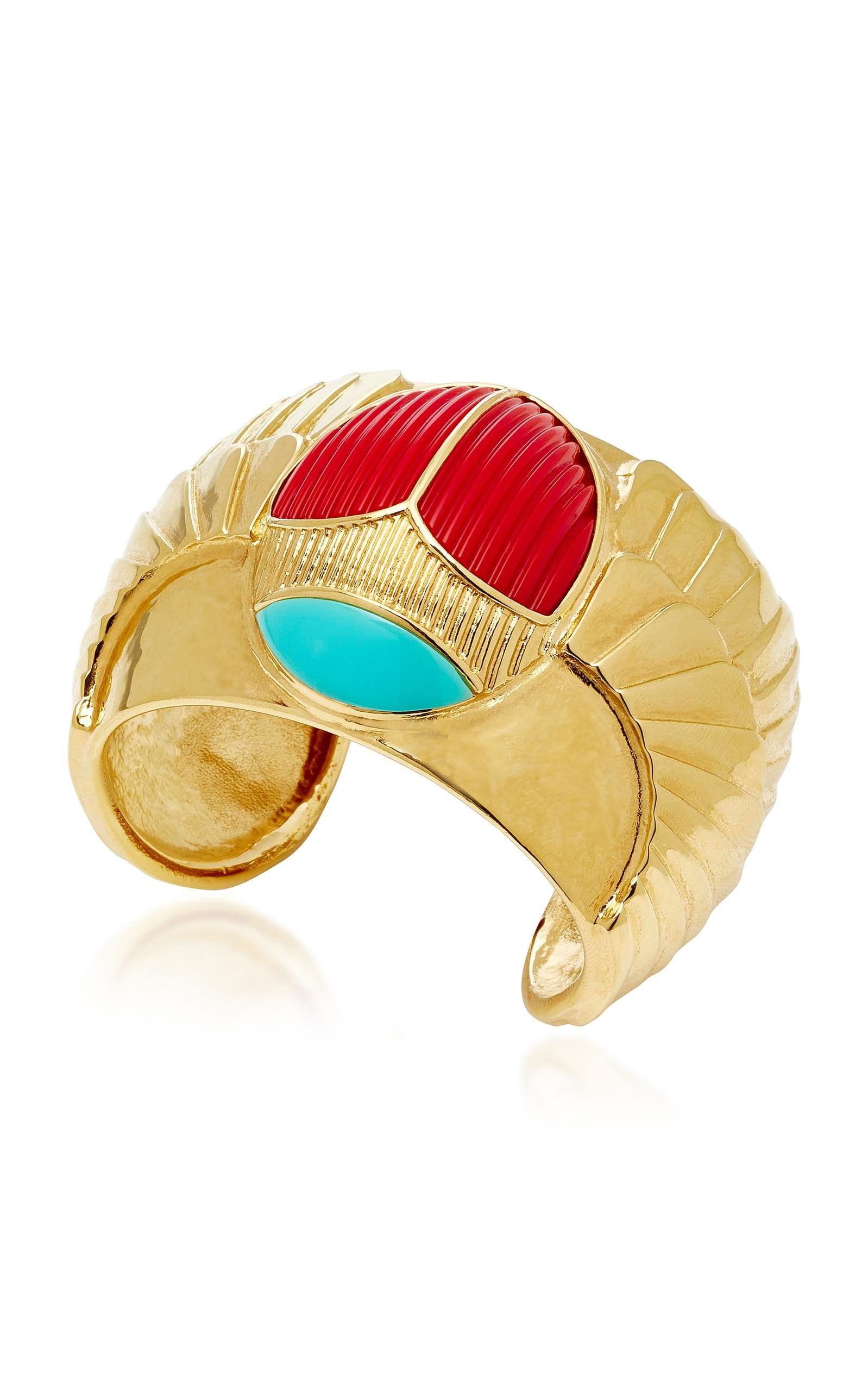 Aurélie Bidermann Elvira Ring in Turquoise Enamel, Coral Resin and 18K Gold-Plated Brass