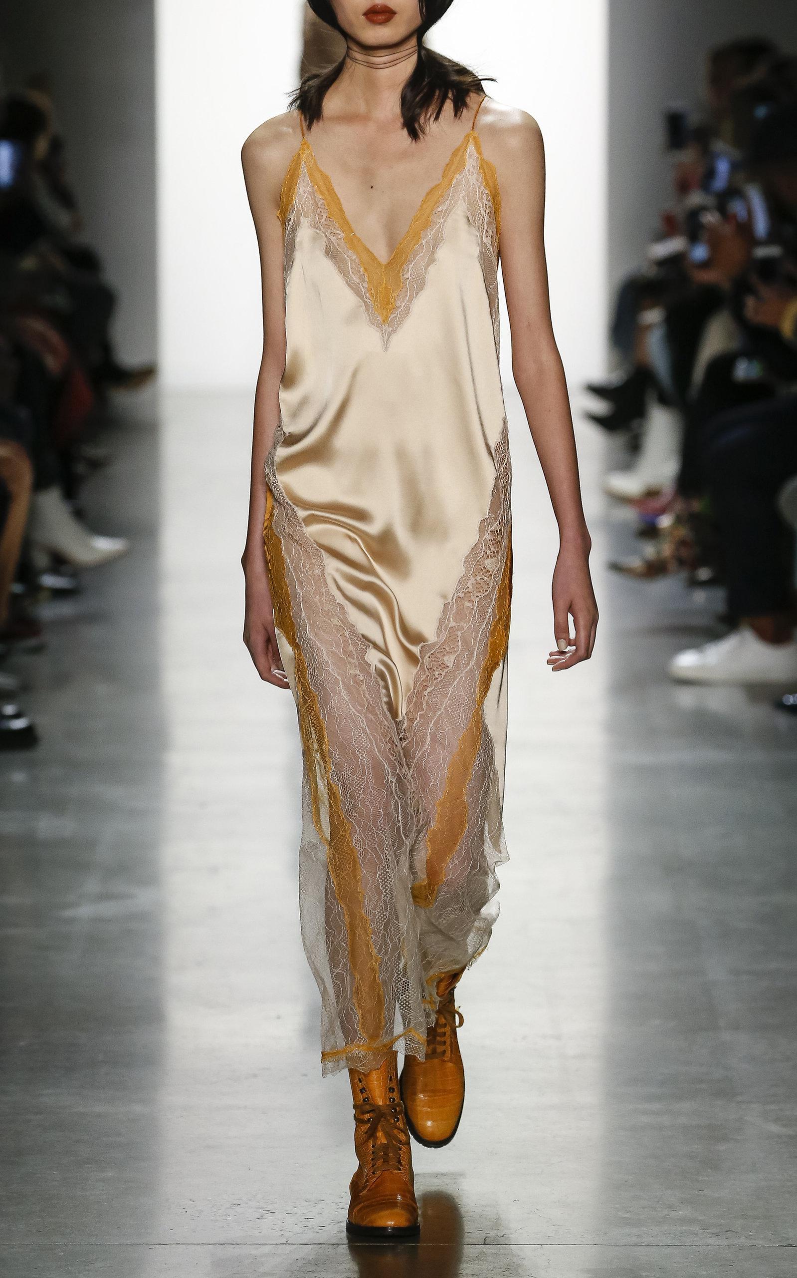 Jonathan Simkhai Lace Runway Lingerie Sateen Slip Dress Lyst