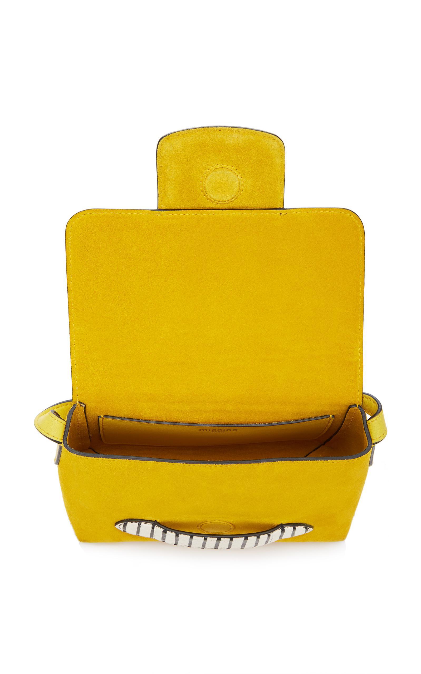 Michino Paris Leather Phedra Crossbody in Yellow