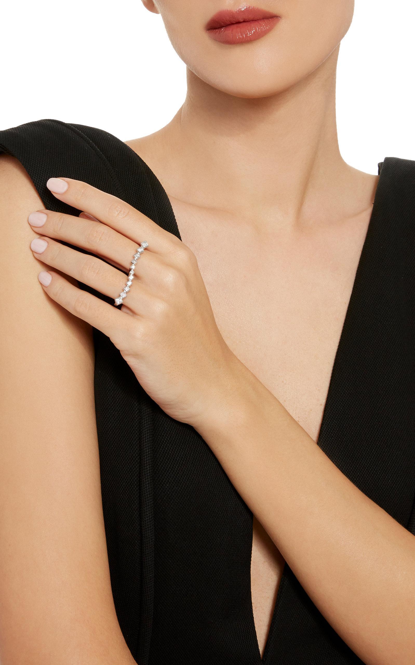 Melissa Kaye Margo Wave Ring in White